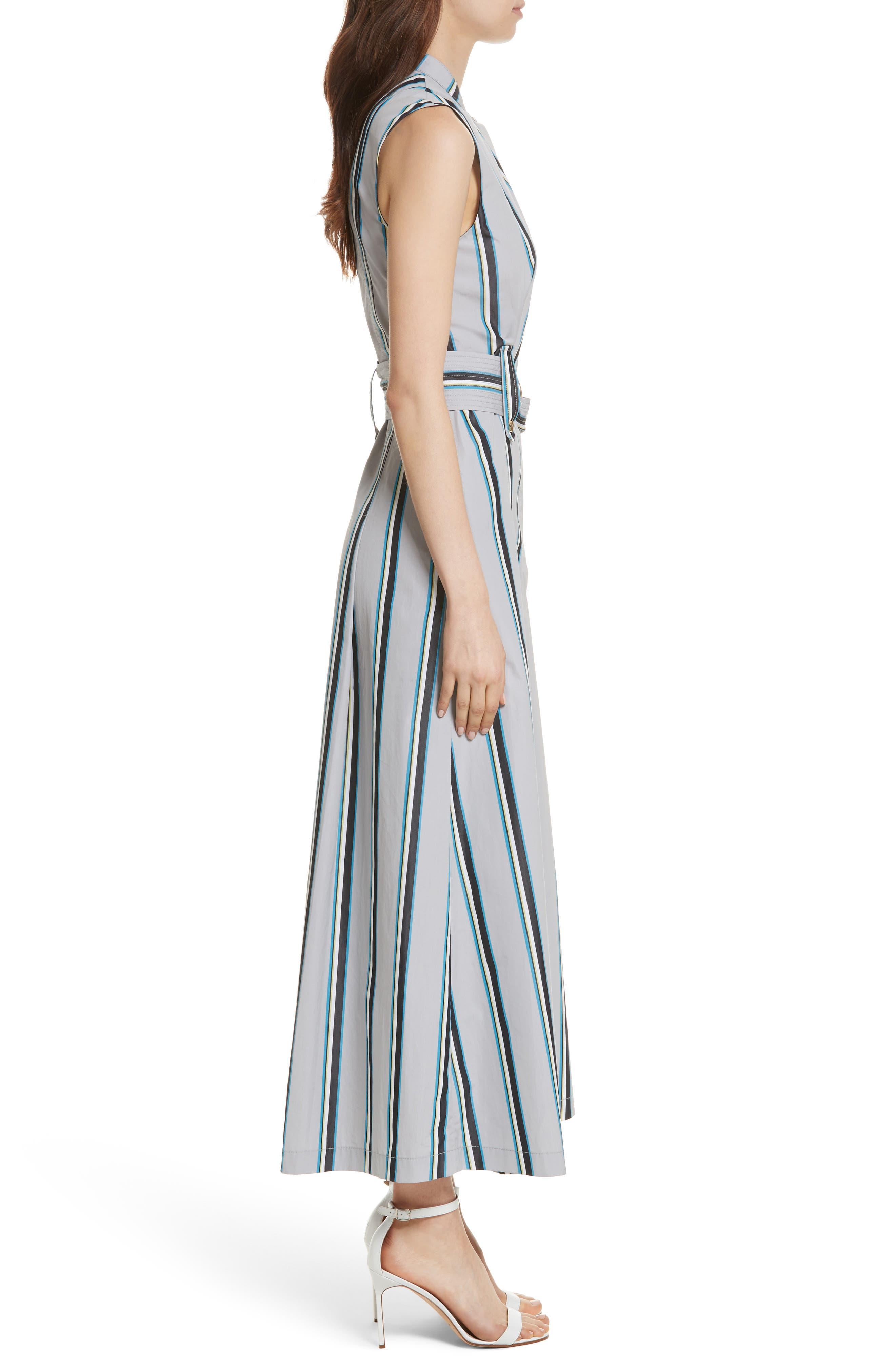 Diane von Furstenberg Stripe Belted Maxi Dress,                             Alternate thumbnail 3, color,                             Smoke Multi