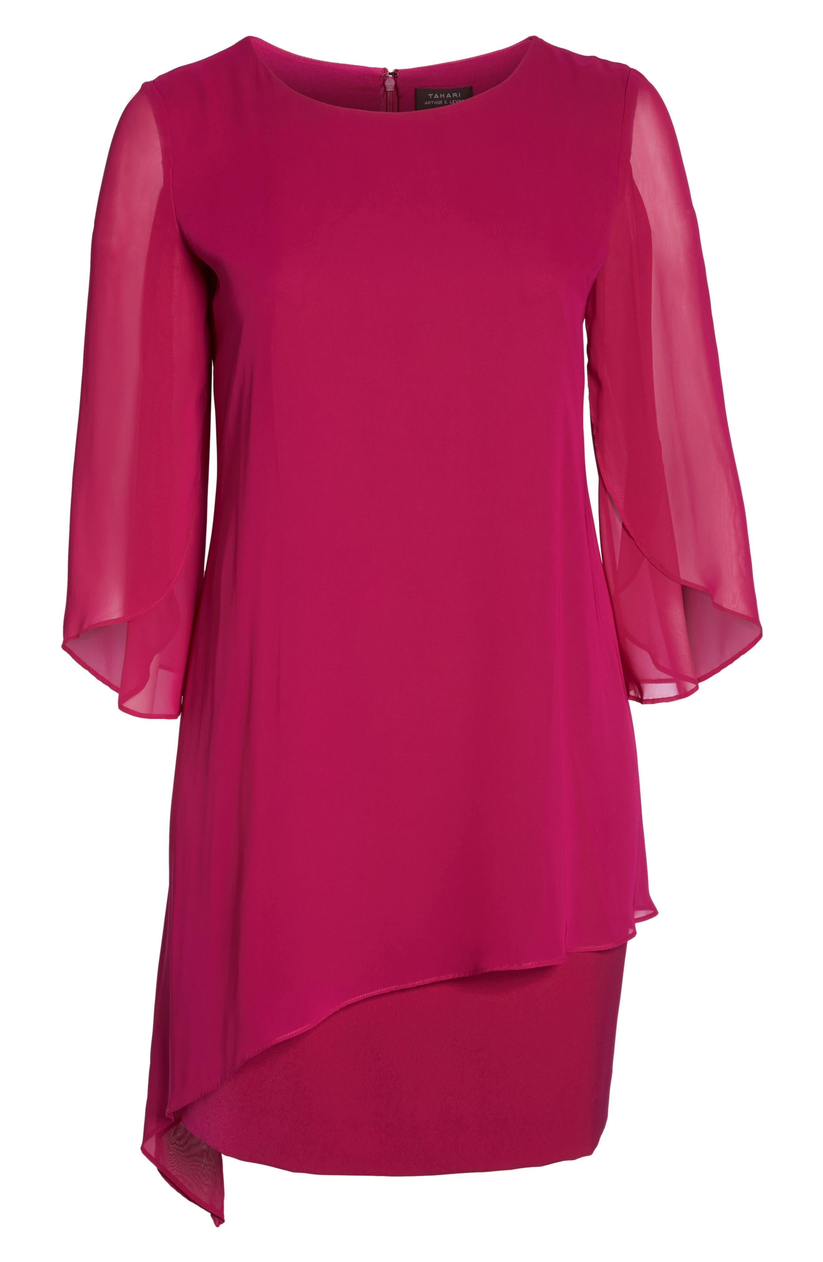 Chiffon Cape Sheath Dress,                             Alternate thumbnail 6, color,                             Magenta