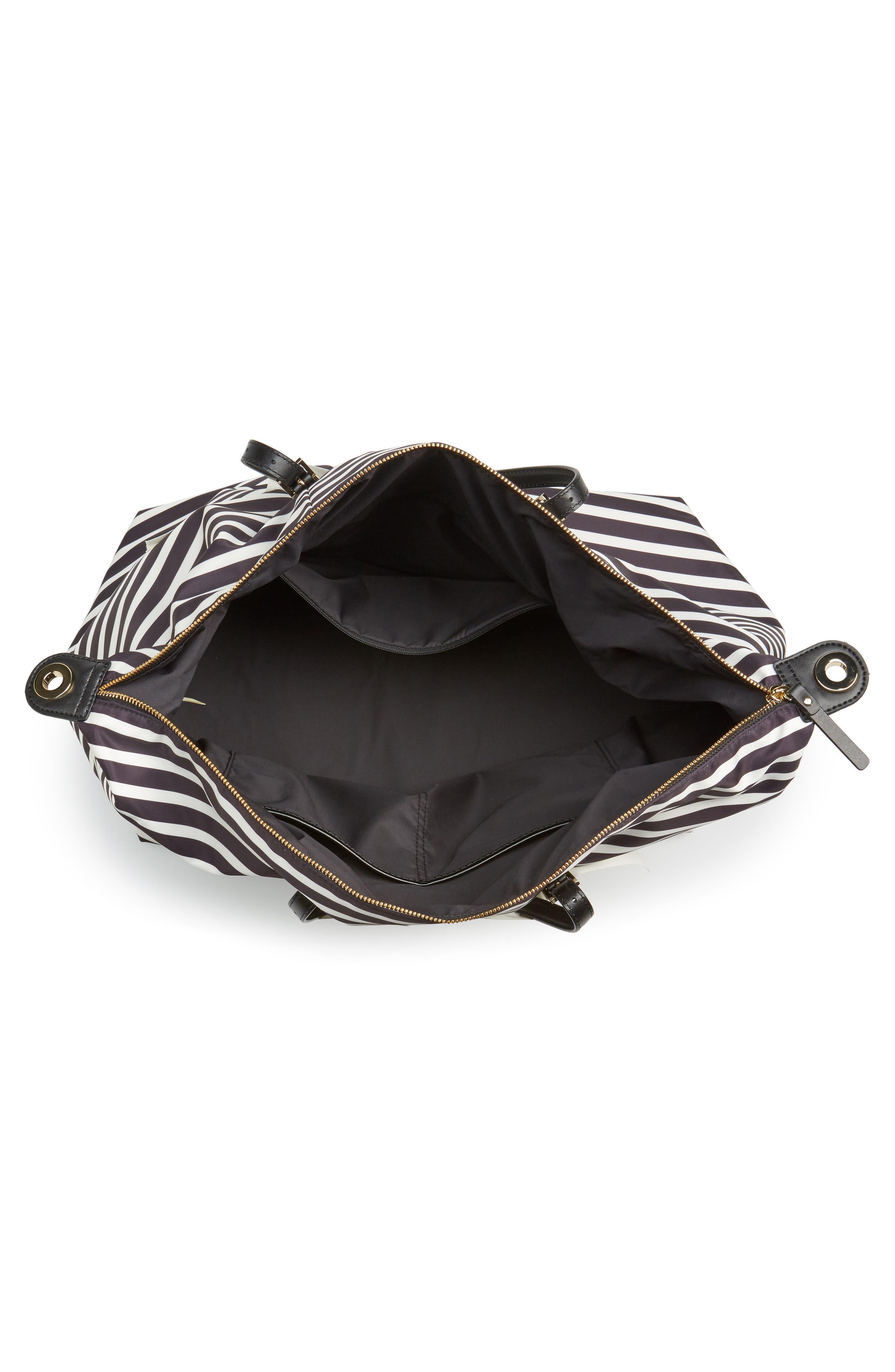 watson lane lyla stripe nylon tote,                             Alternate thumbnail 4, color,                             Black/ Clotted Cream