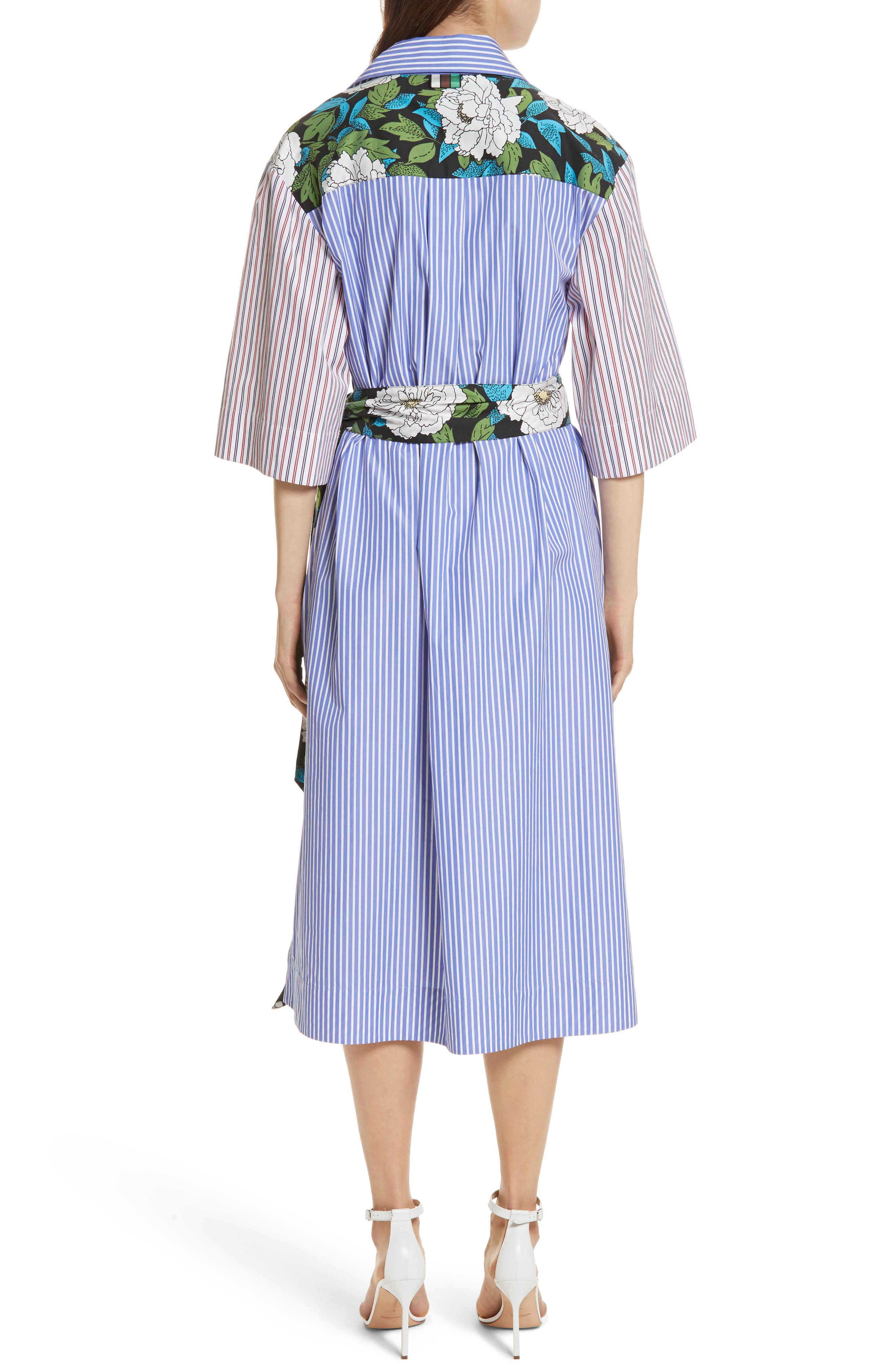 Diane von Furstenberg Mixed Print Cotton Shirtdress,                             Alternate thumbnail 2, color,                             Blue White Wide Stripe