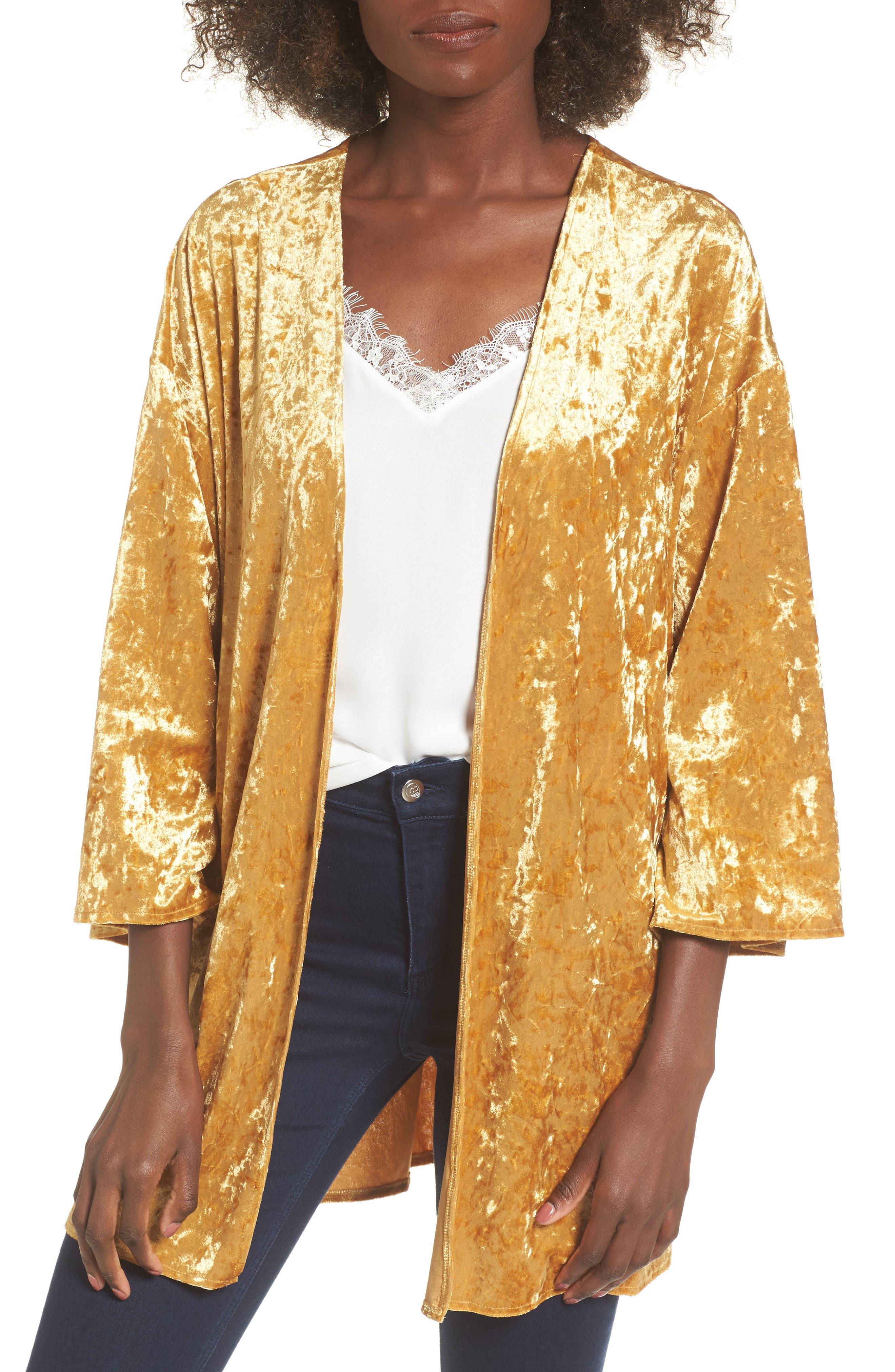 Crushed Velvet Open Cardigan,                         Main,                         color, Golden Yellow