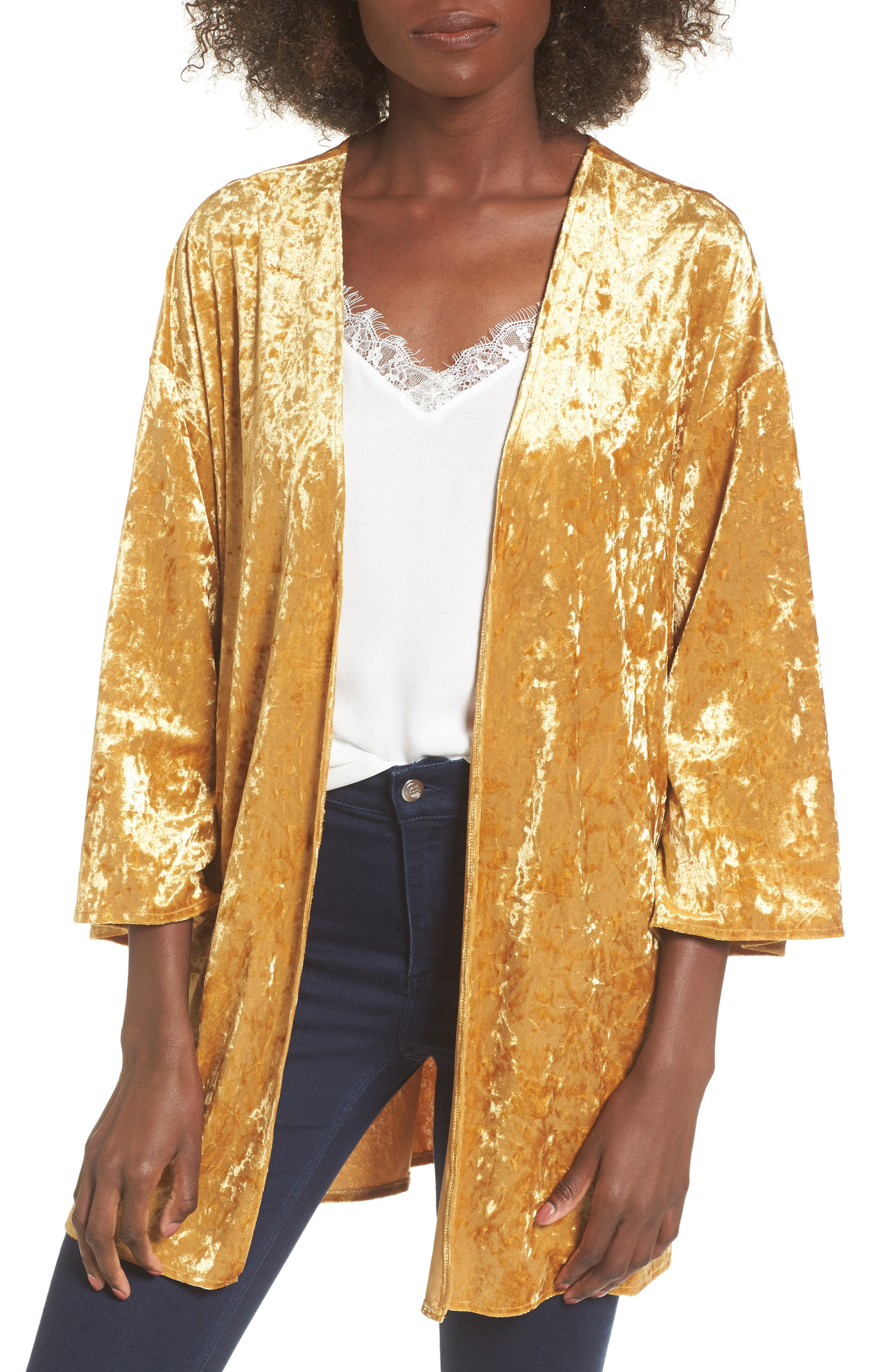 Mimi Chica Crushed Velvet Open Cardigan