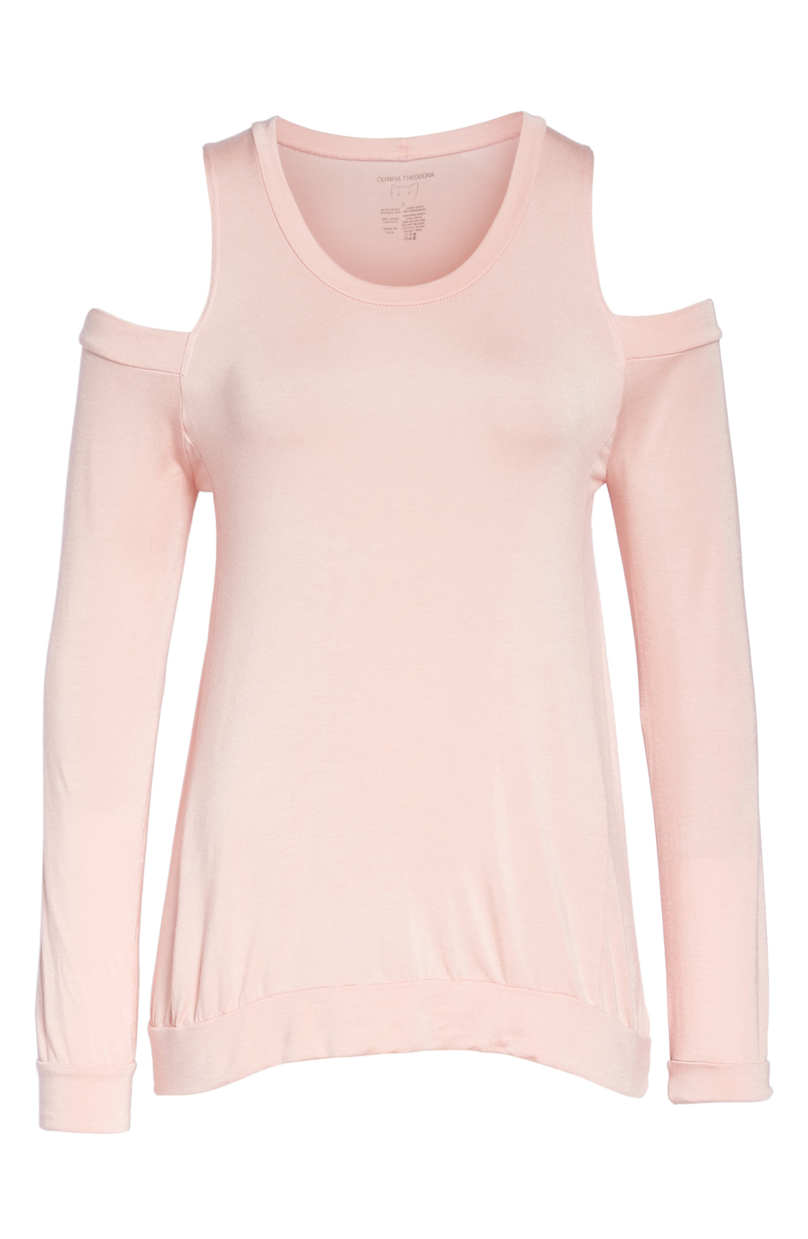 Roma Cold Shoulder Pullover,                             Alternate thumbnail 4, color,                             Dream Pink