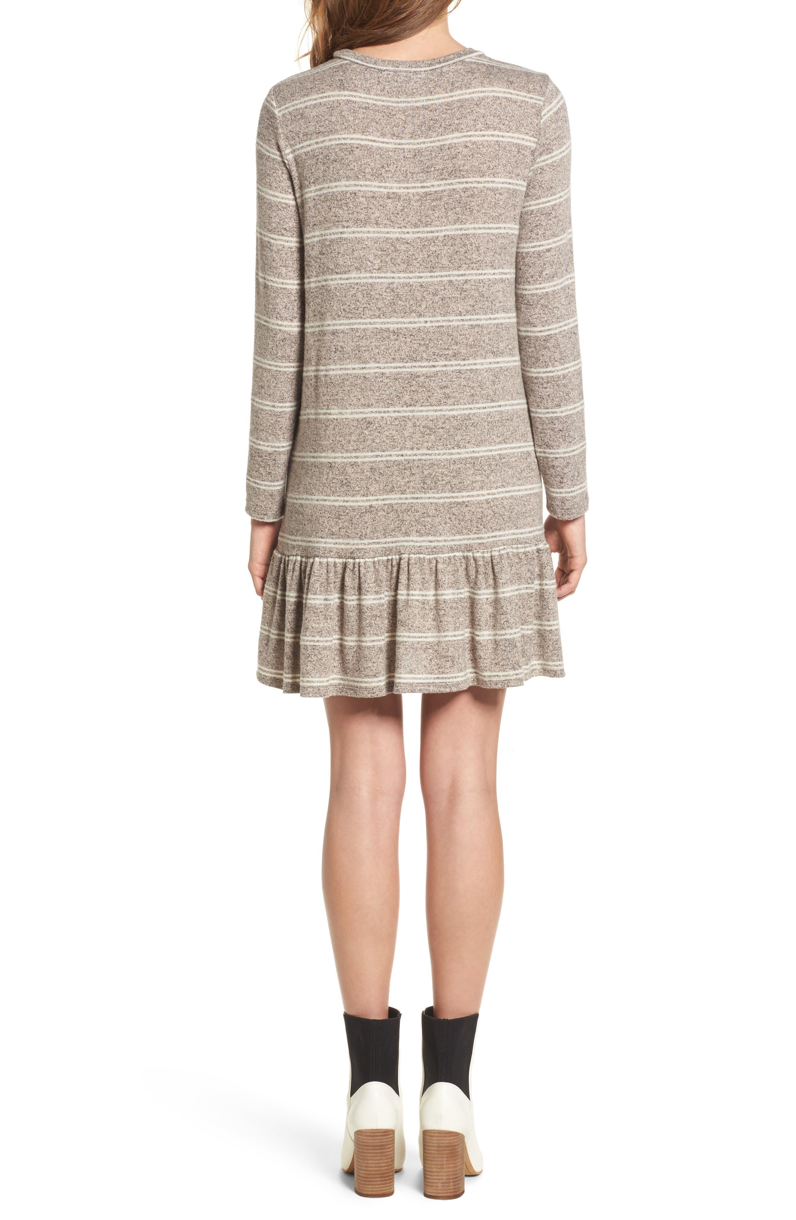 Drop Waist Sweater Dress,                             Alternate thumbnail 2, color,                             Grey/ Ivory