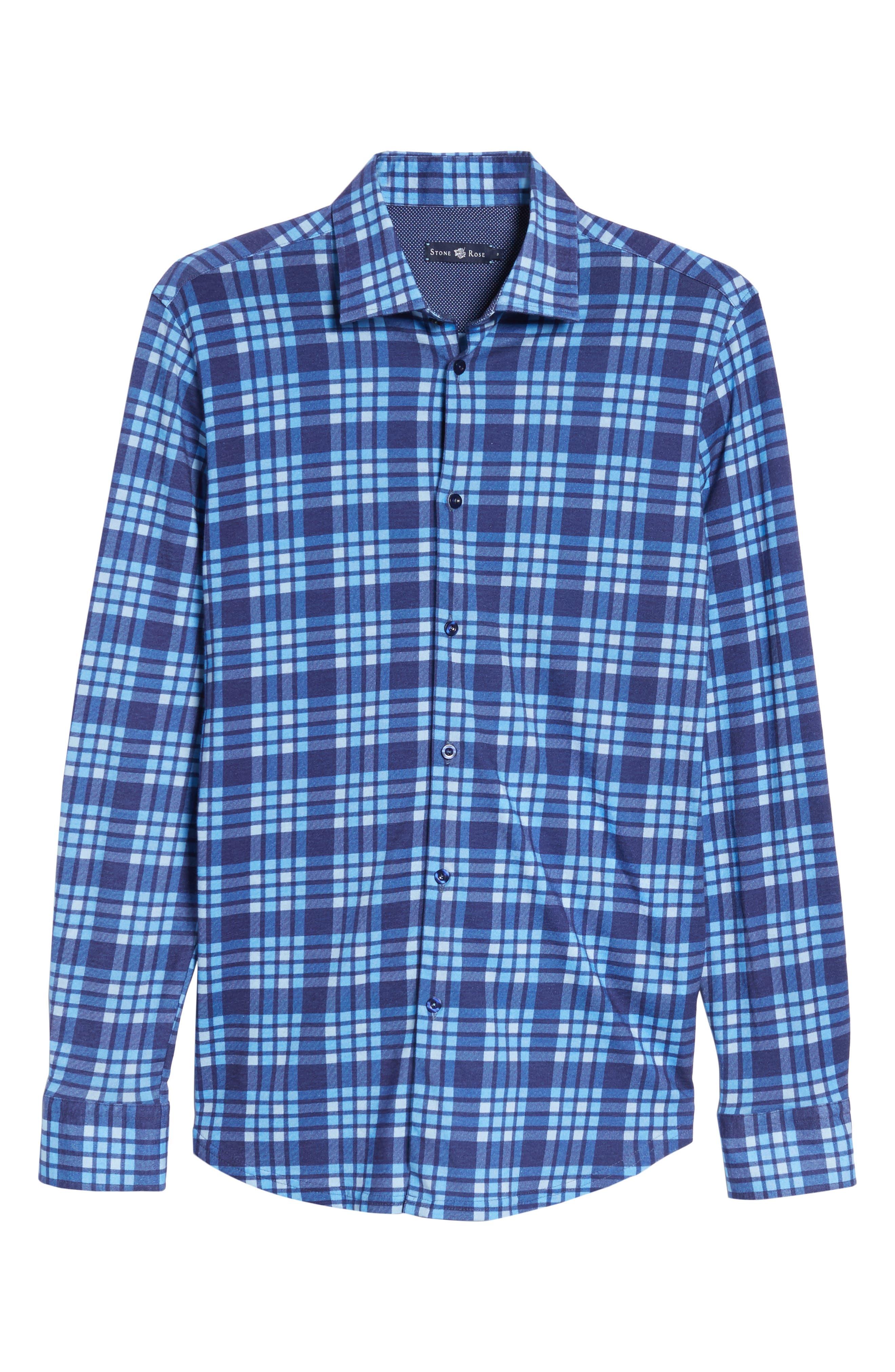 Plaid Print Jersey Shirt,                             Alternate thumbnail 6, color,                             Navy