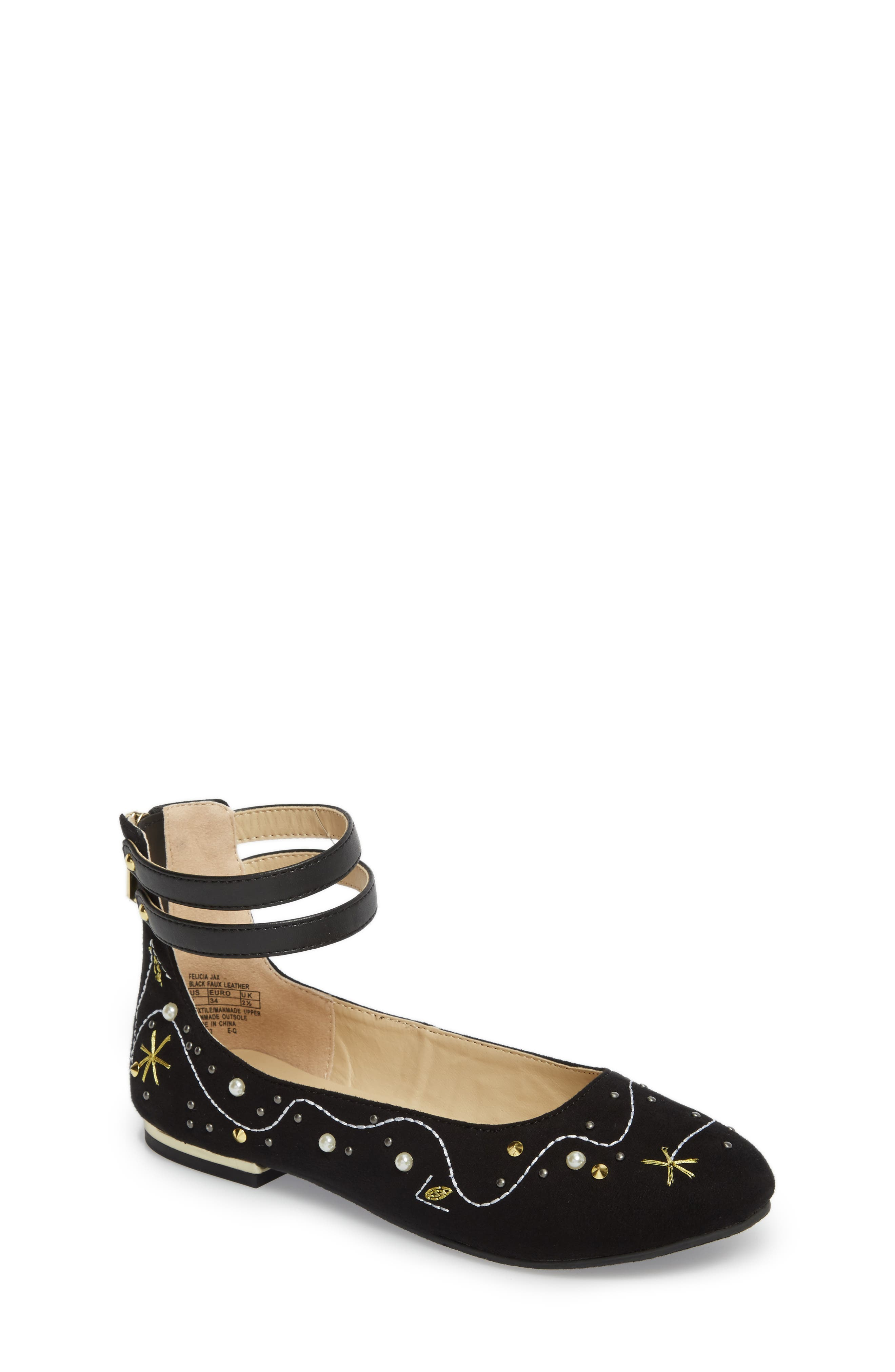 Felicia Jax Embellished Flat,                             Main thumbnail 1, color,                             Black