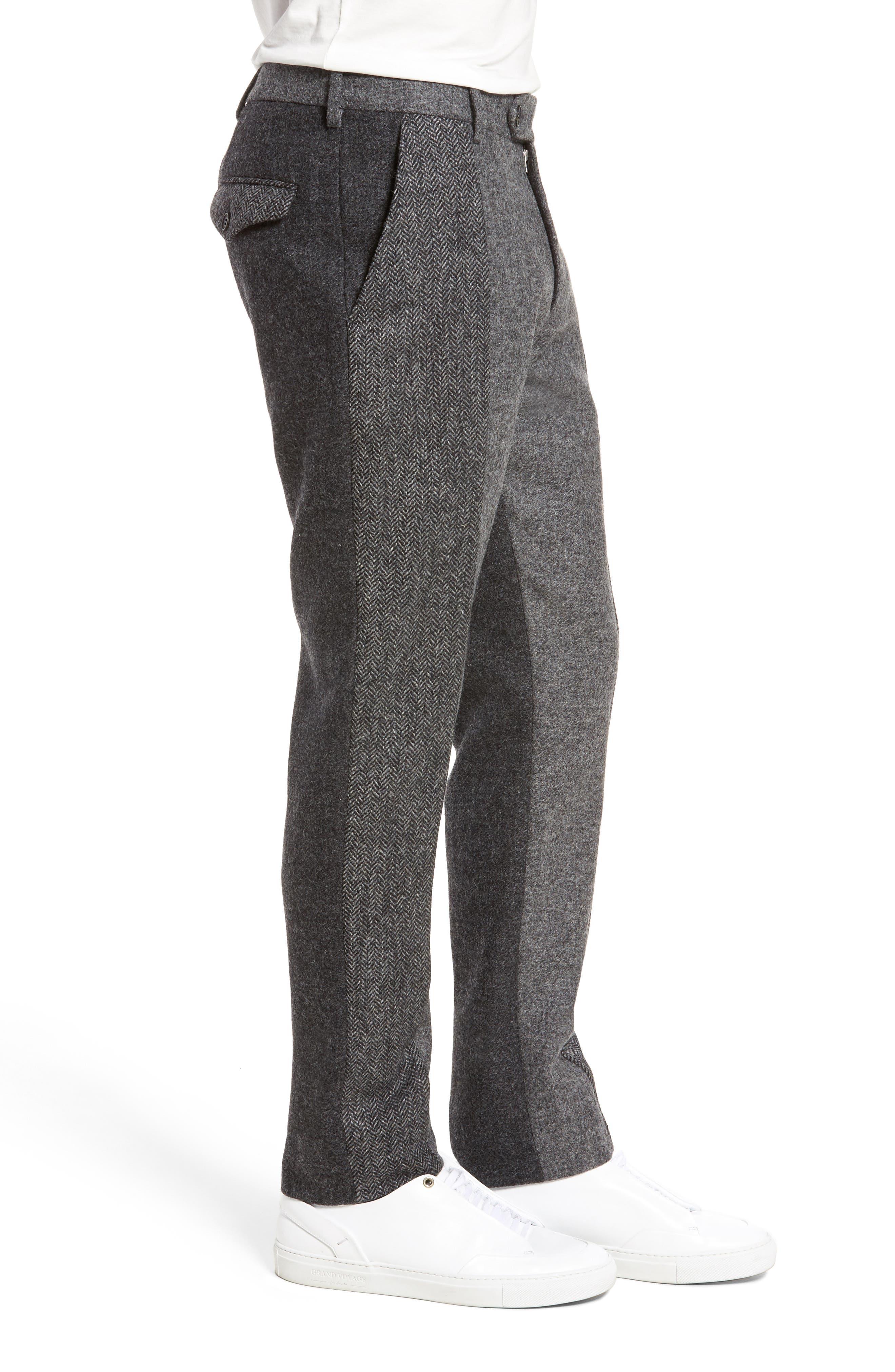 Patchwork Wool Trousers,                             Alternate thumbnail 3, color,                             Grey Melange