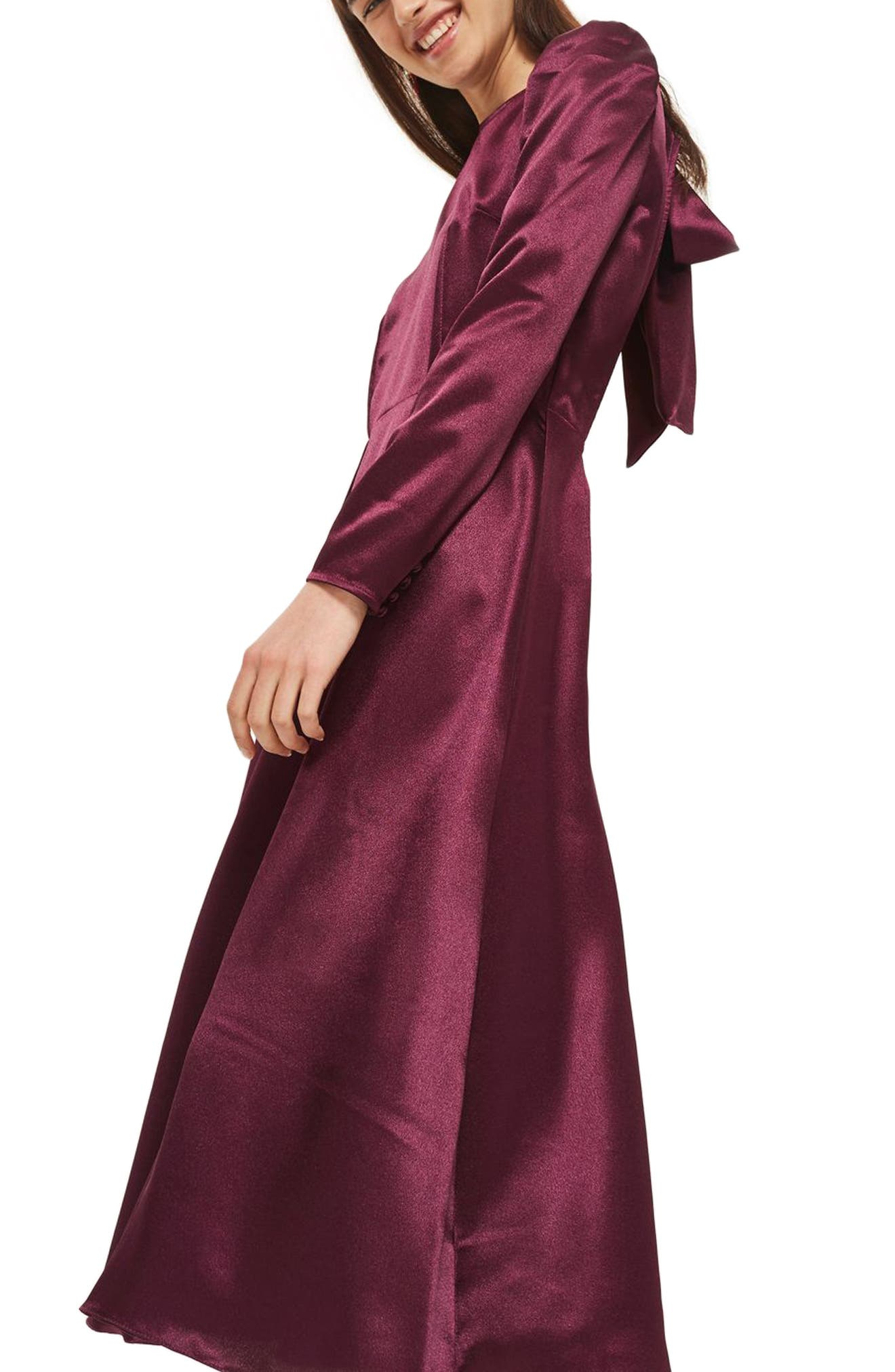 Shimmer Satin Tie Back Midi Dress,                             Alternate thumbnail 3, color,                             Burgundy