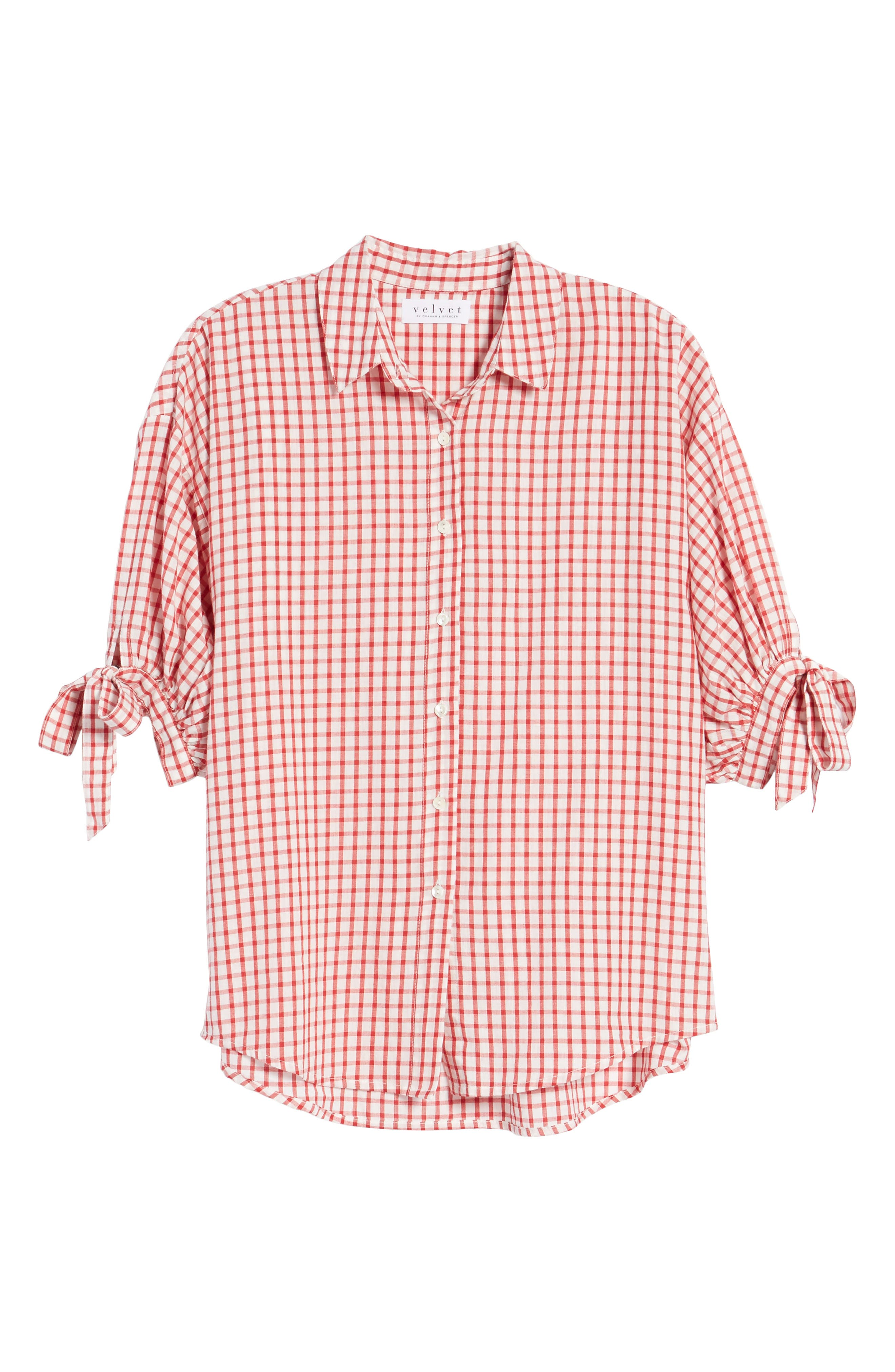 Check Button-Down Shirt,                             Alternate thumbnail 6, color,                             Red