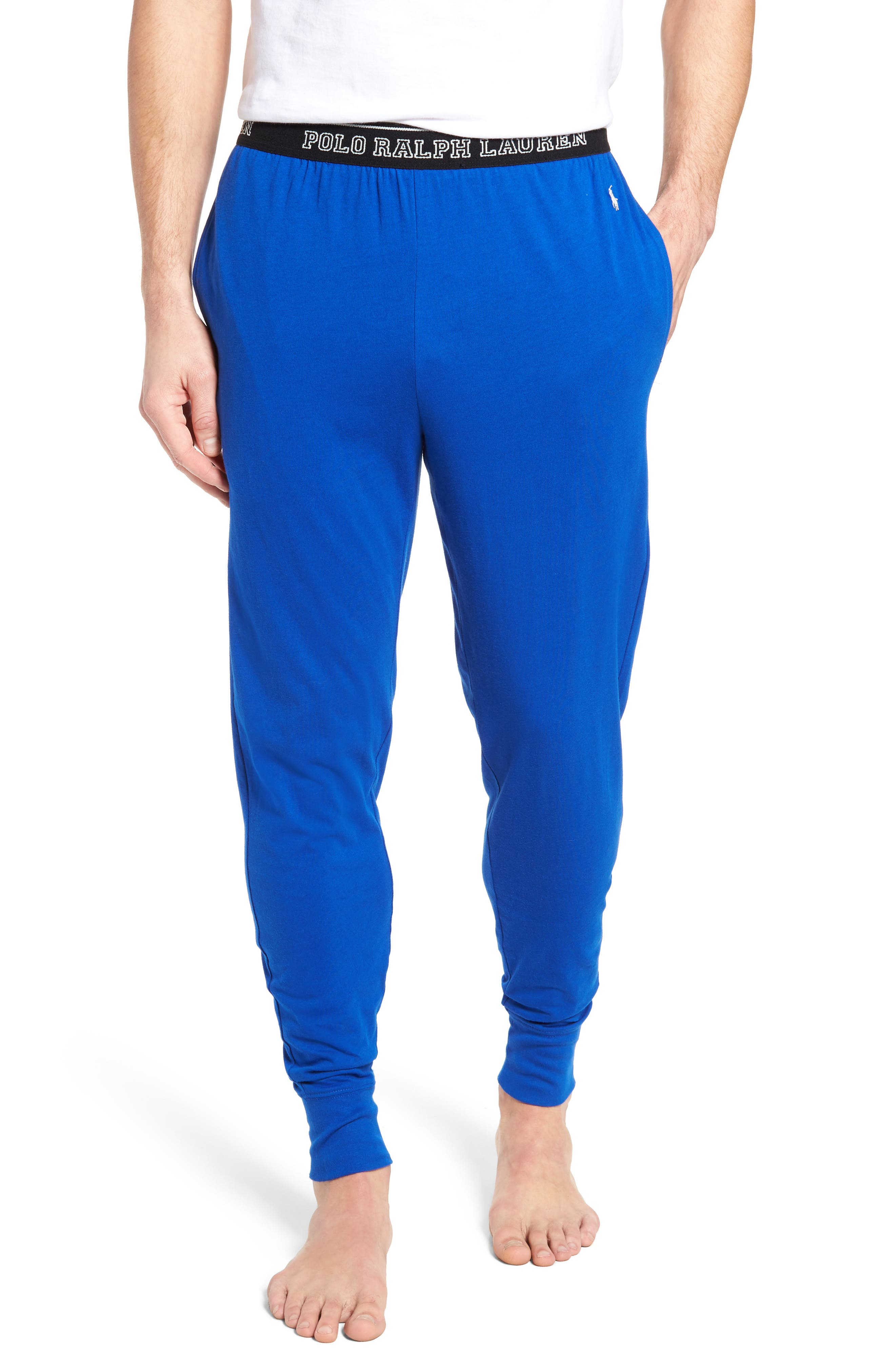 Polo Ralph Lauren Cotton Lounge Pants,                         Main,                         color, Sapphire Star/ Crescent Cream