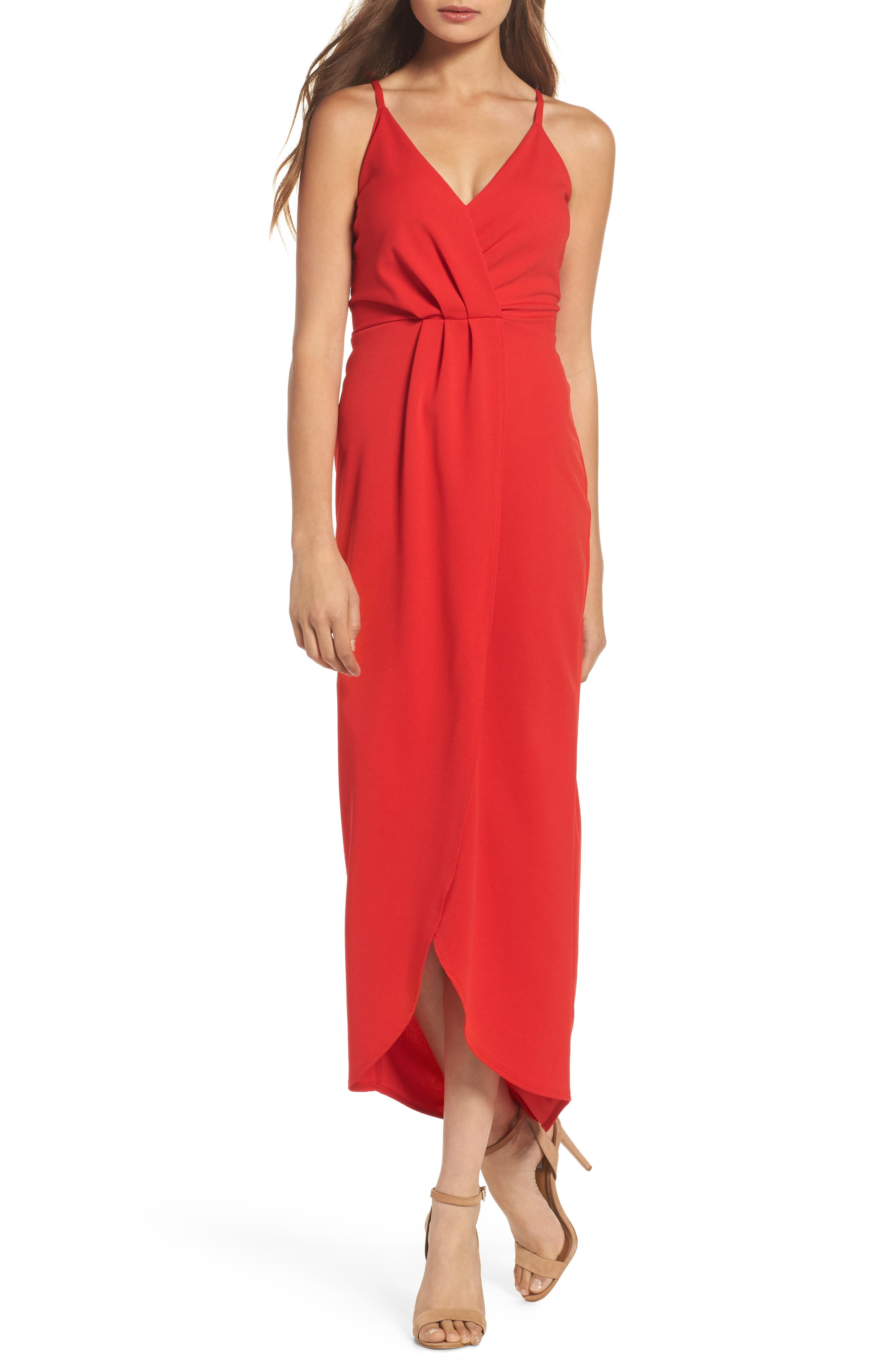 High/Low Slipdress,                         Main,                         color, Red