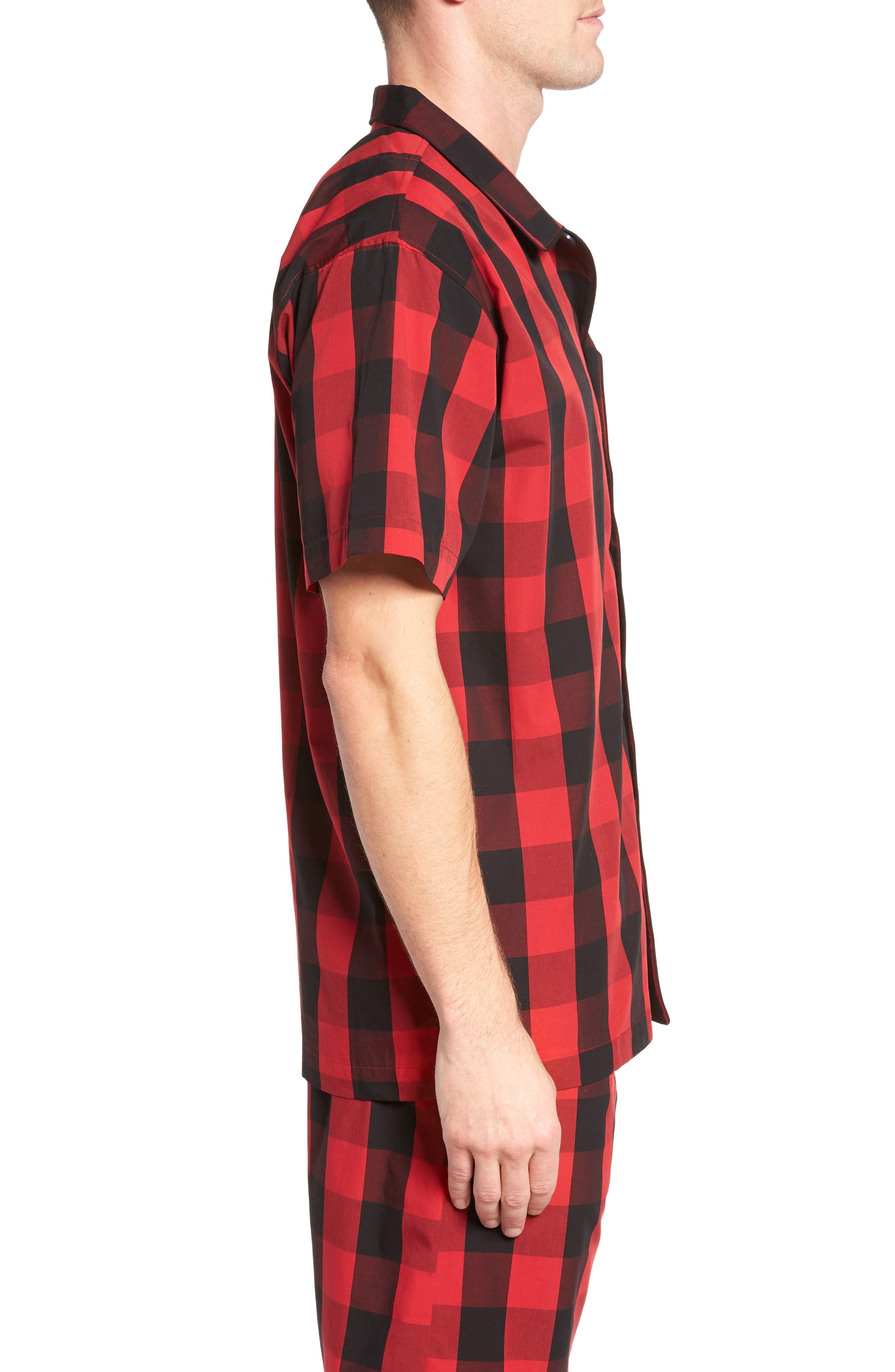 Cotton Pajama Shirt,                             Alternate thumbnail 3, color,                             Montana Plaid/ Polo Black