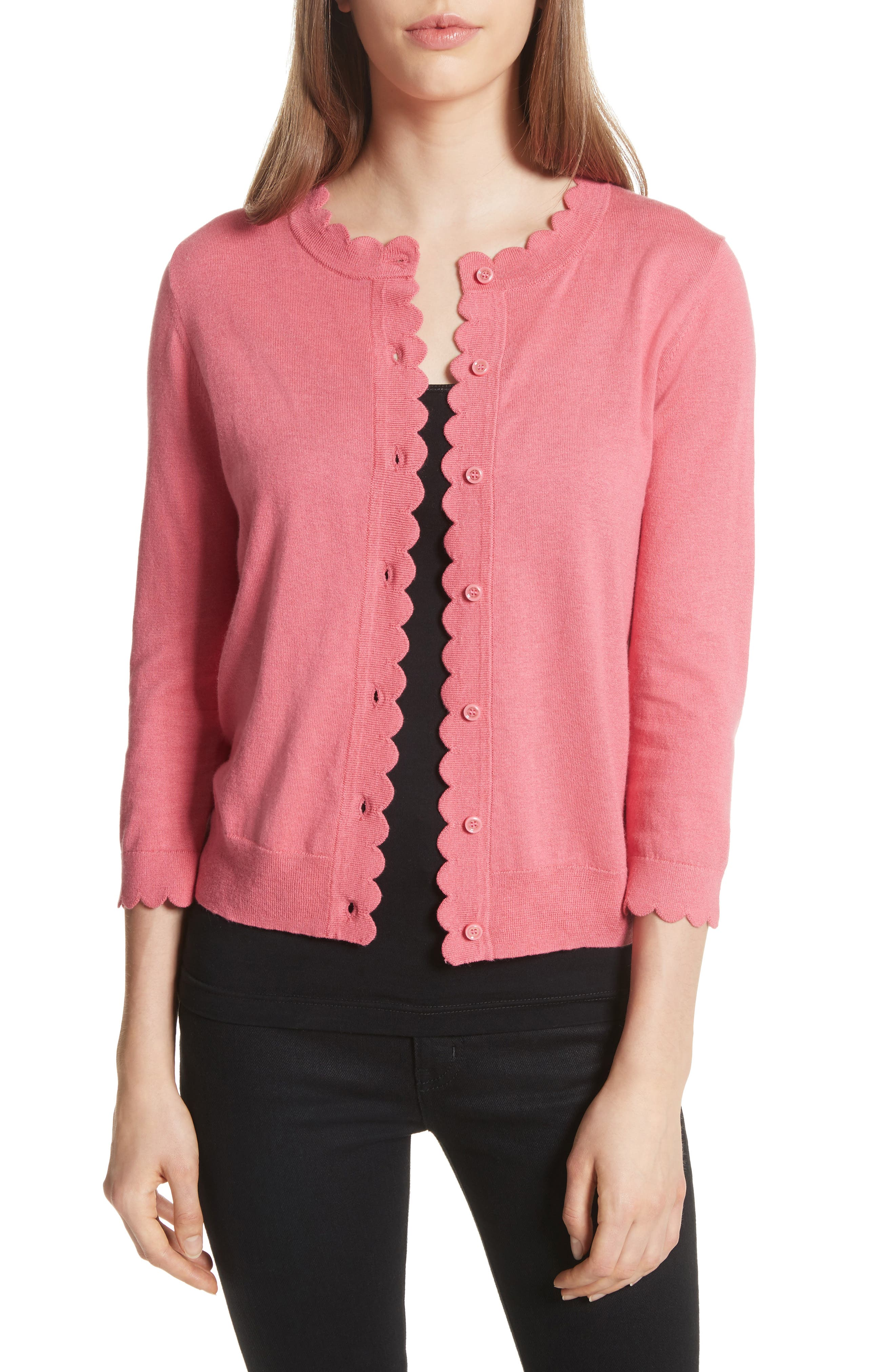 Alternate Image 1 Selected - kate spade new york scallop silk blend cardigan