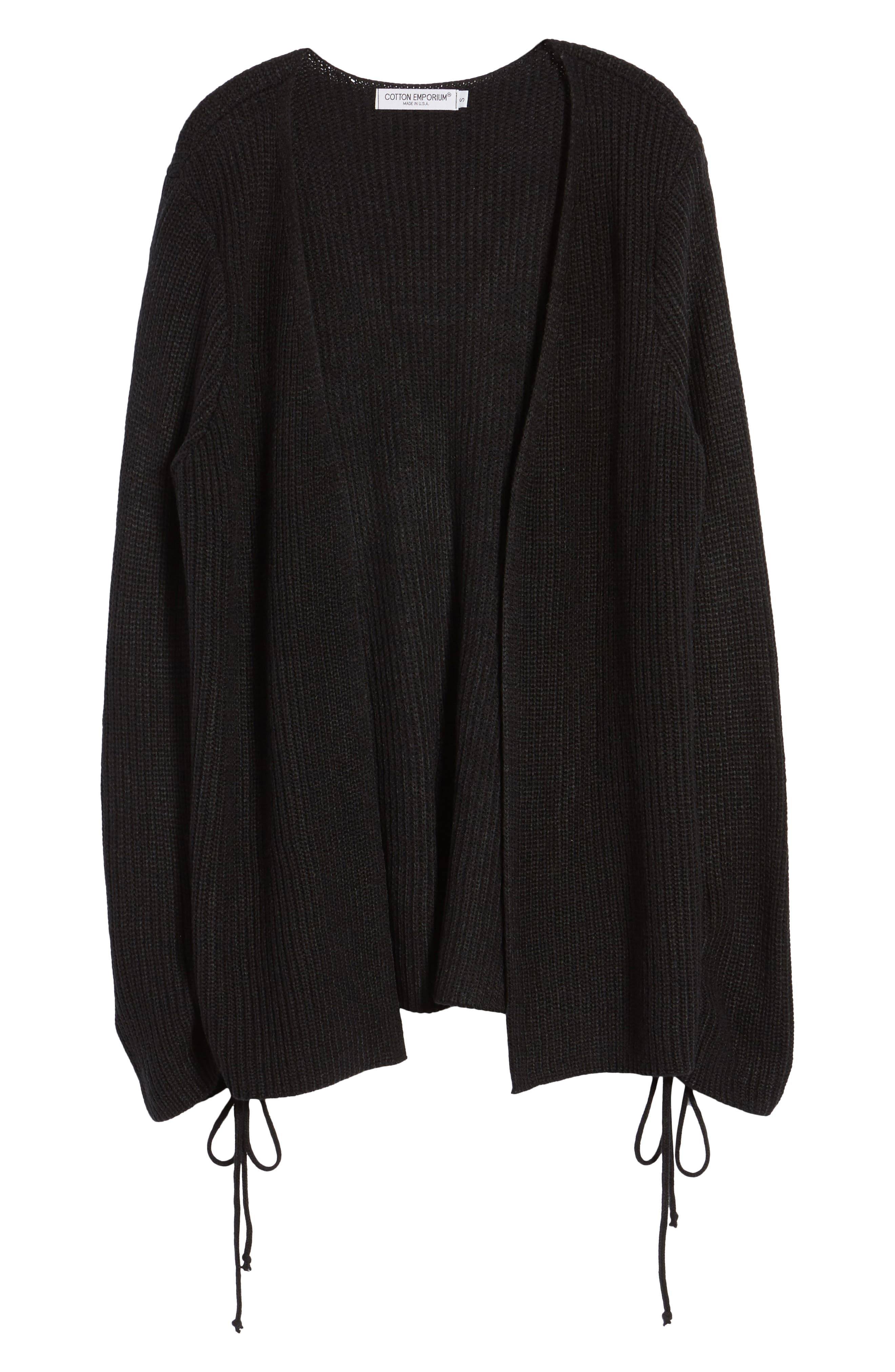 Tie Sleeve Cardigan,                             Alternate thumbnail 6, color,                             Black