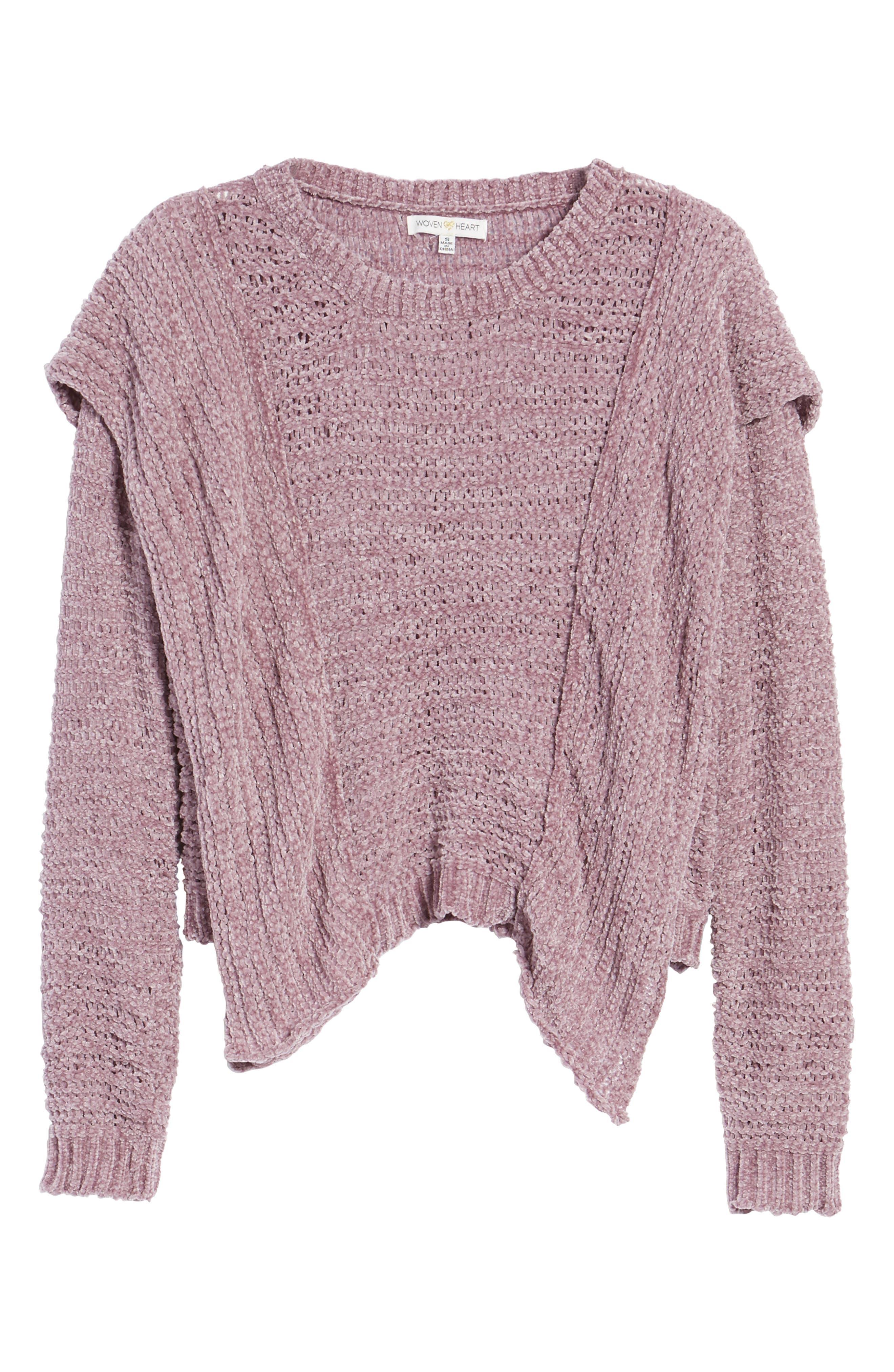 Ruffle Chenille Sweater,                             Alternate thumbnail 6, color,                             Soft Purple
