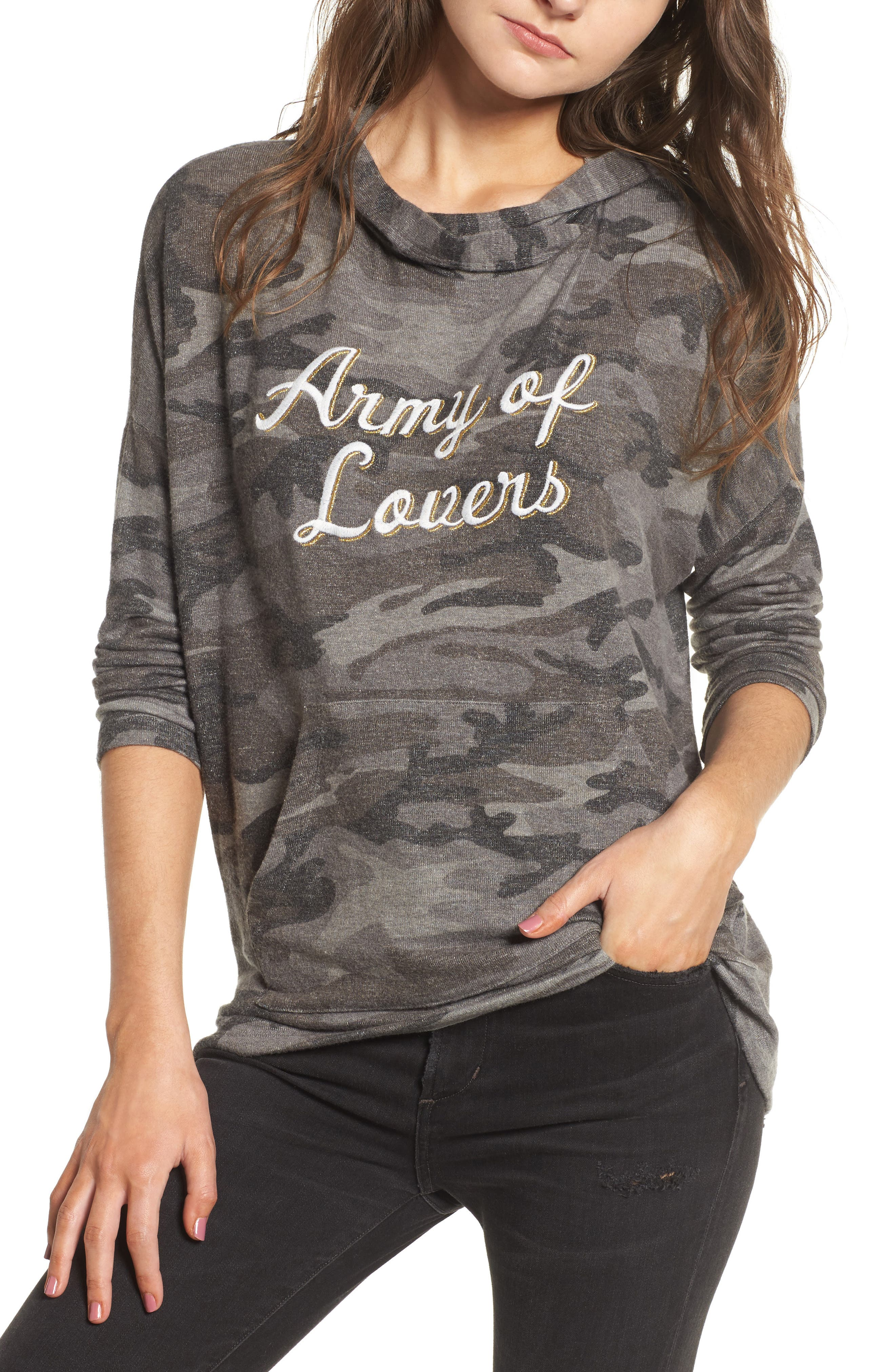 Army of Lovers Camo Hoodie,                             Main thumbnail 1, color,                             Charcoal Camo