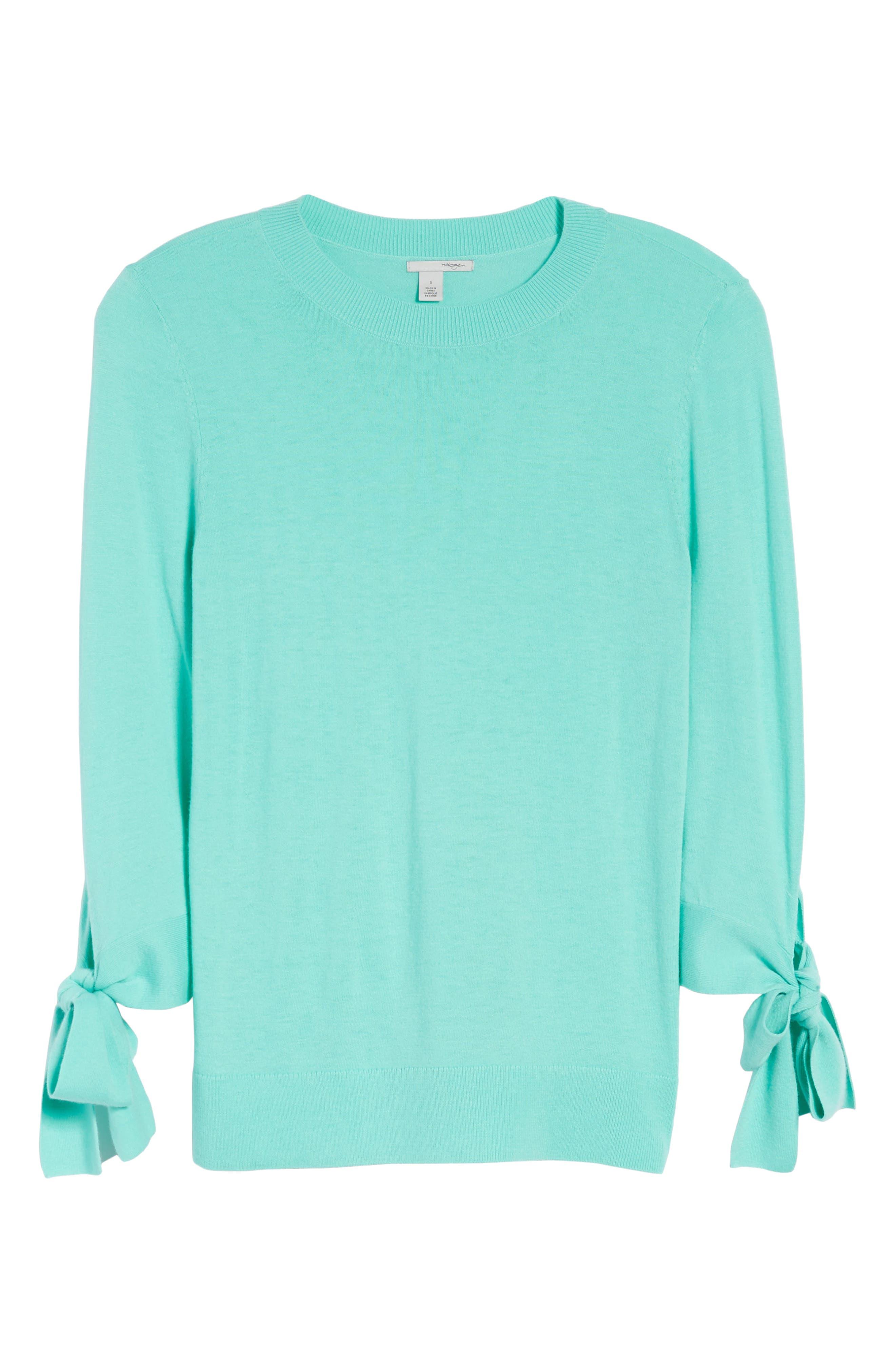 Tie Sleeve Crewneck Sweater,                             Alternate thumbnail 6, color,                             Green Largo