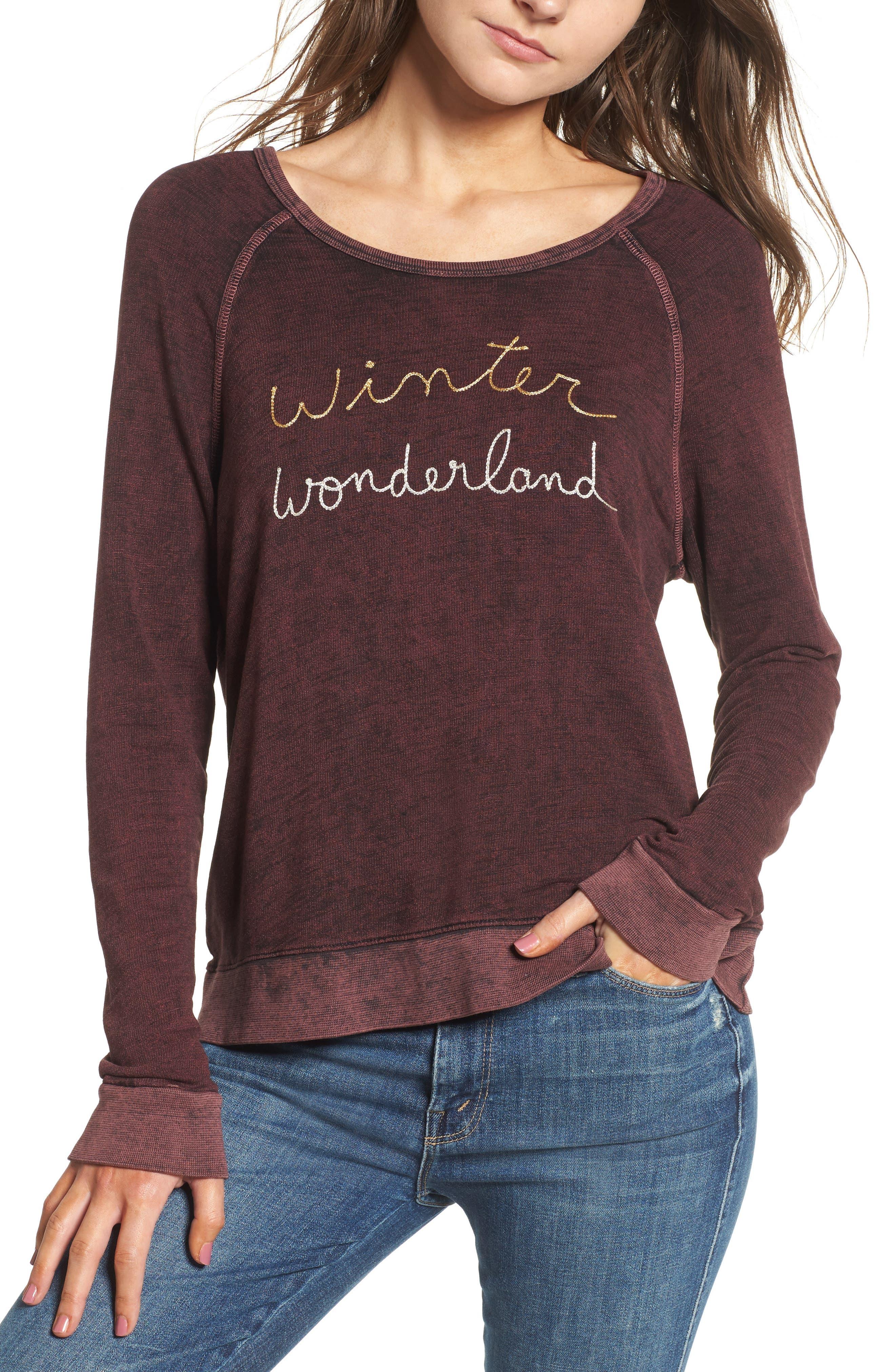Active Winter Wonderland Sweatshirt,                             Main thumbnail 1, color,                             Burgundy Acid Wash