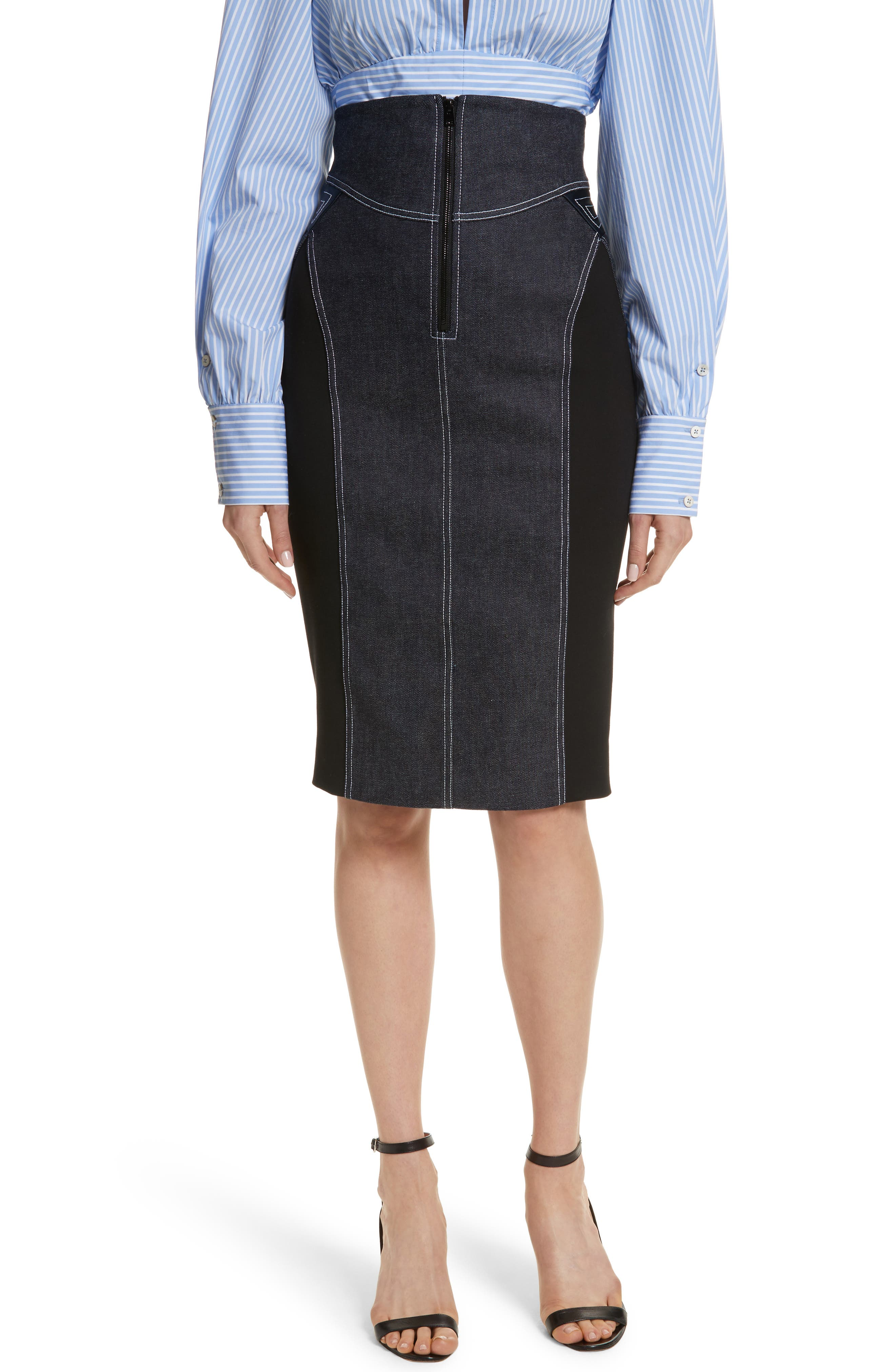Diane von Furstenberg Denim Pencil Skirt,                             Main thumbnail 1, color,                             Indigo/ Black/ Alexander Navy