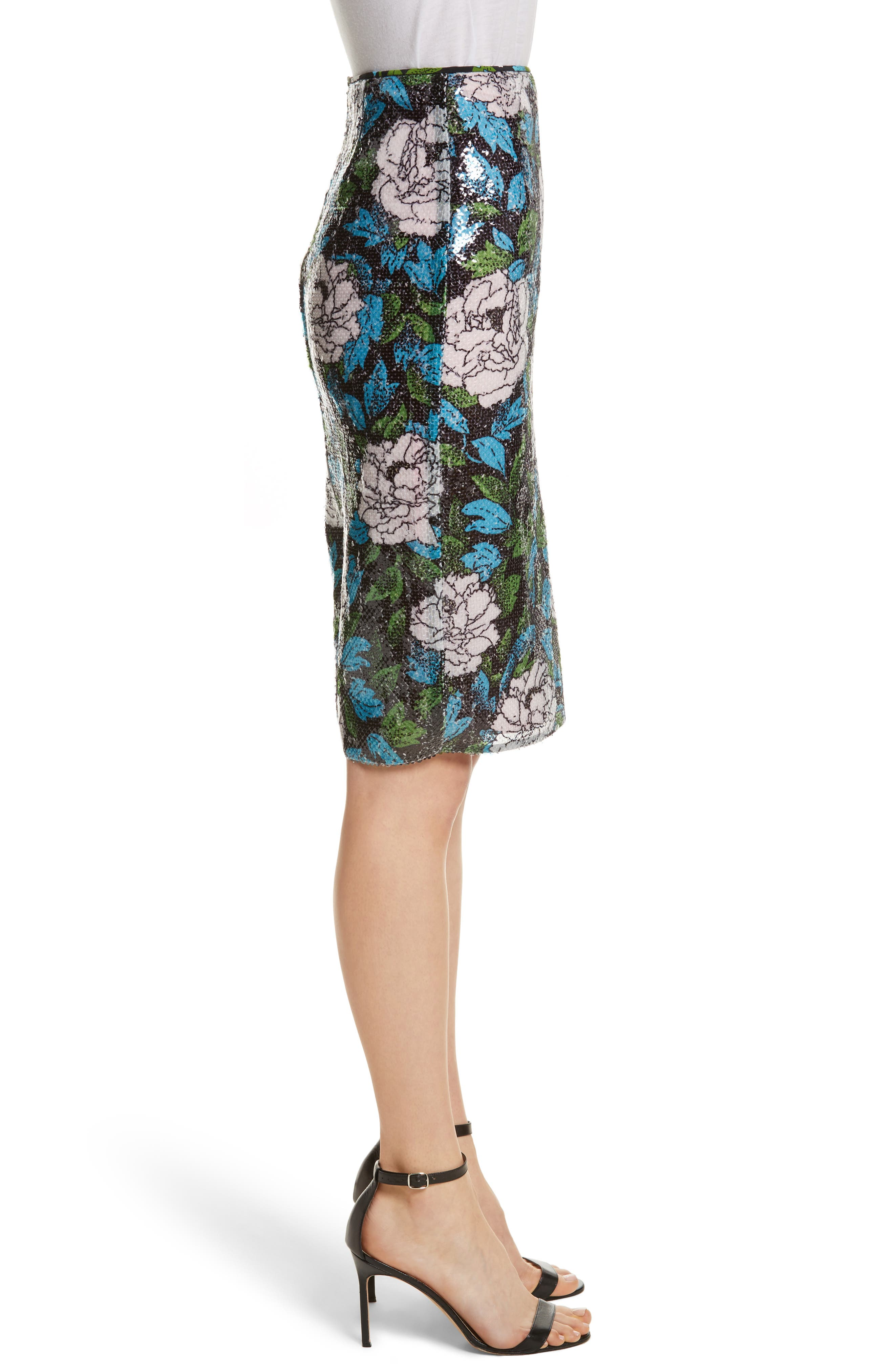 Diane von Furstenberg Sequin Pencil Skirt,                             Alternate thumbnail 3, color,                             Boswell Ivory