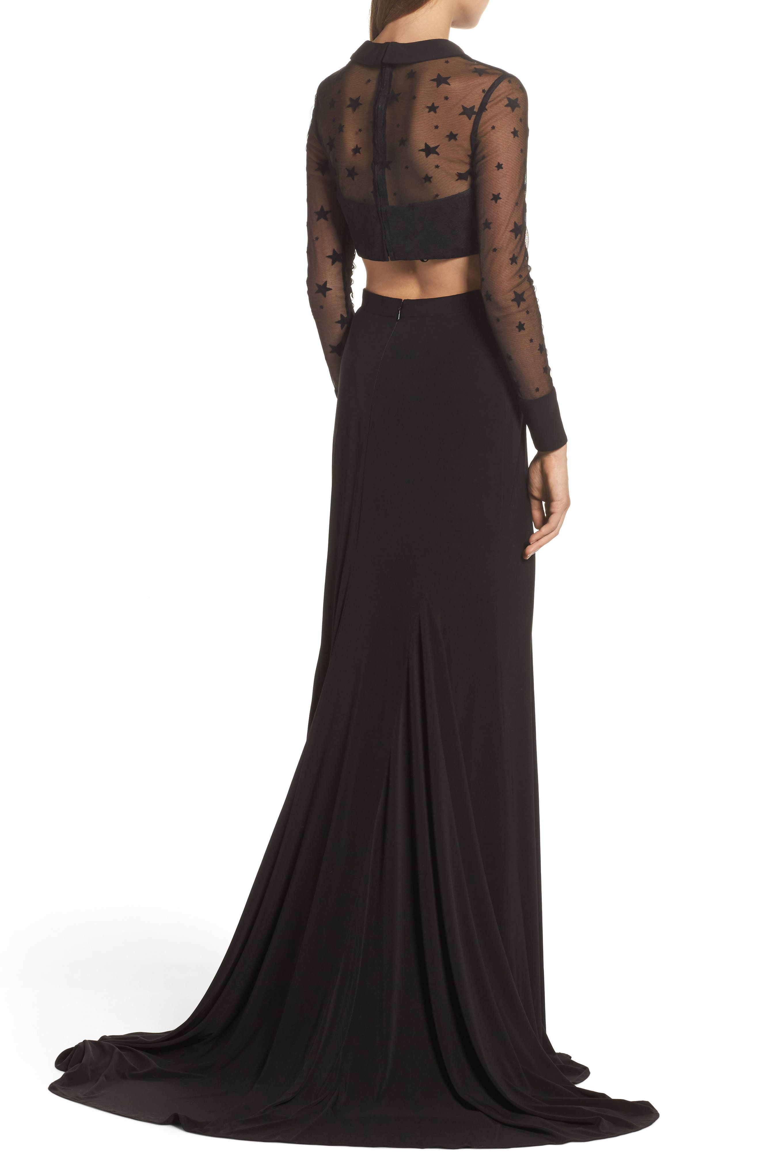 Star Mesh Two-Piece Gown,                             Alternate thumbnail 2, color,                             Black