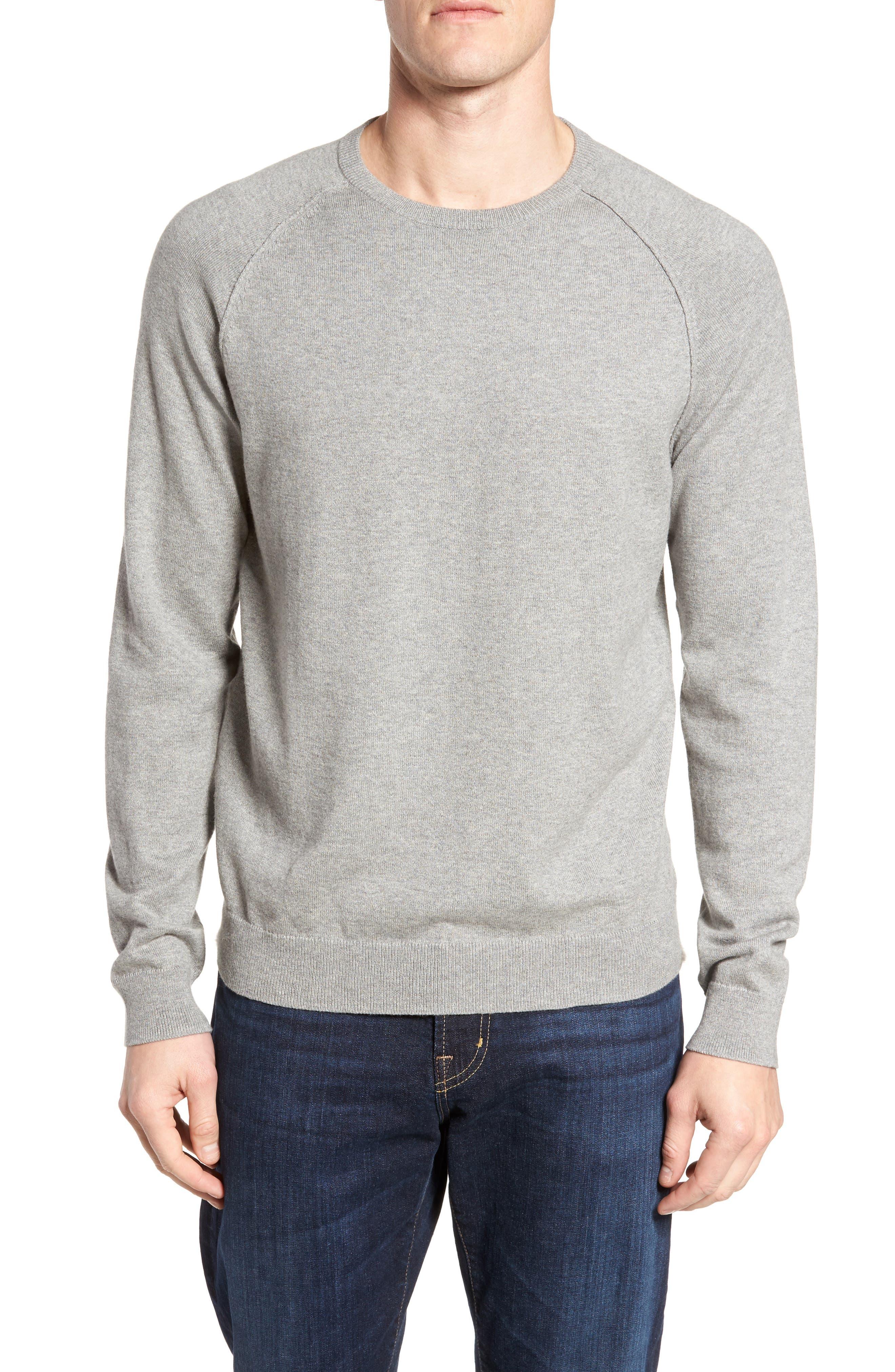 Saddle Shoulder Cotton & Cashmere Sweater,                             Main thumbnail 1, color,                             Grey Heather