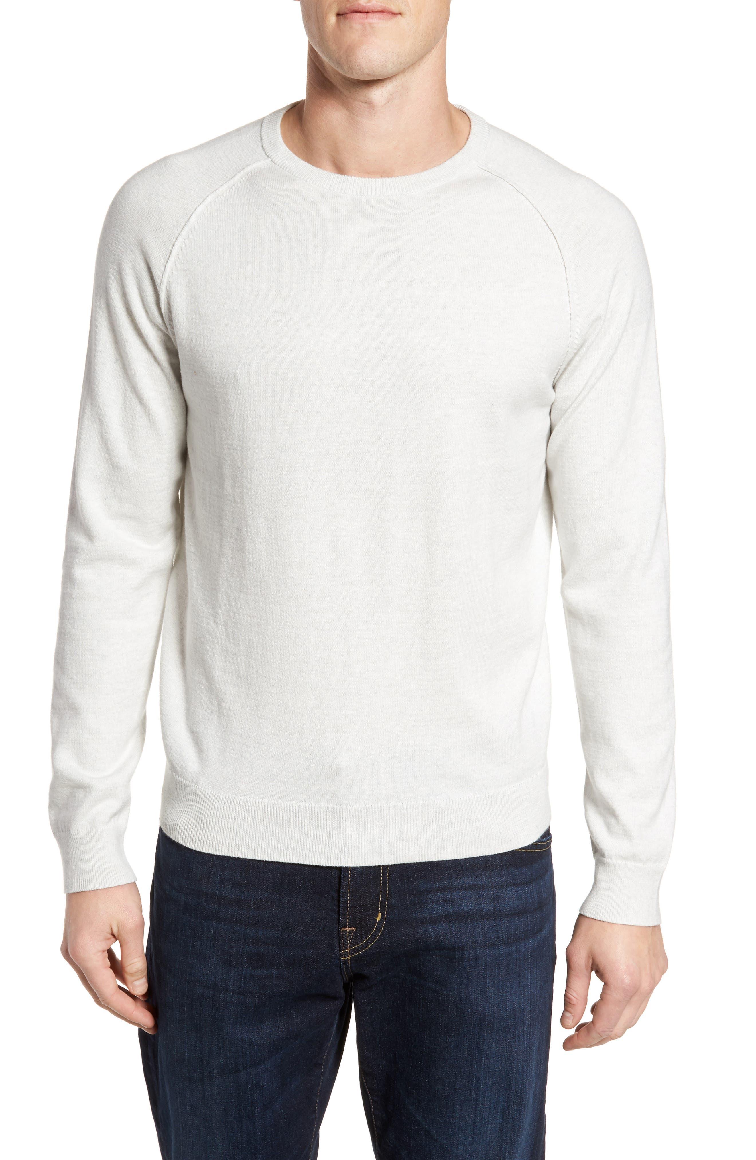 Saddle Shoulder Cotton & Cashmere Sweater,                             Main thumbnail 1, color,                             White Marl
