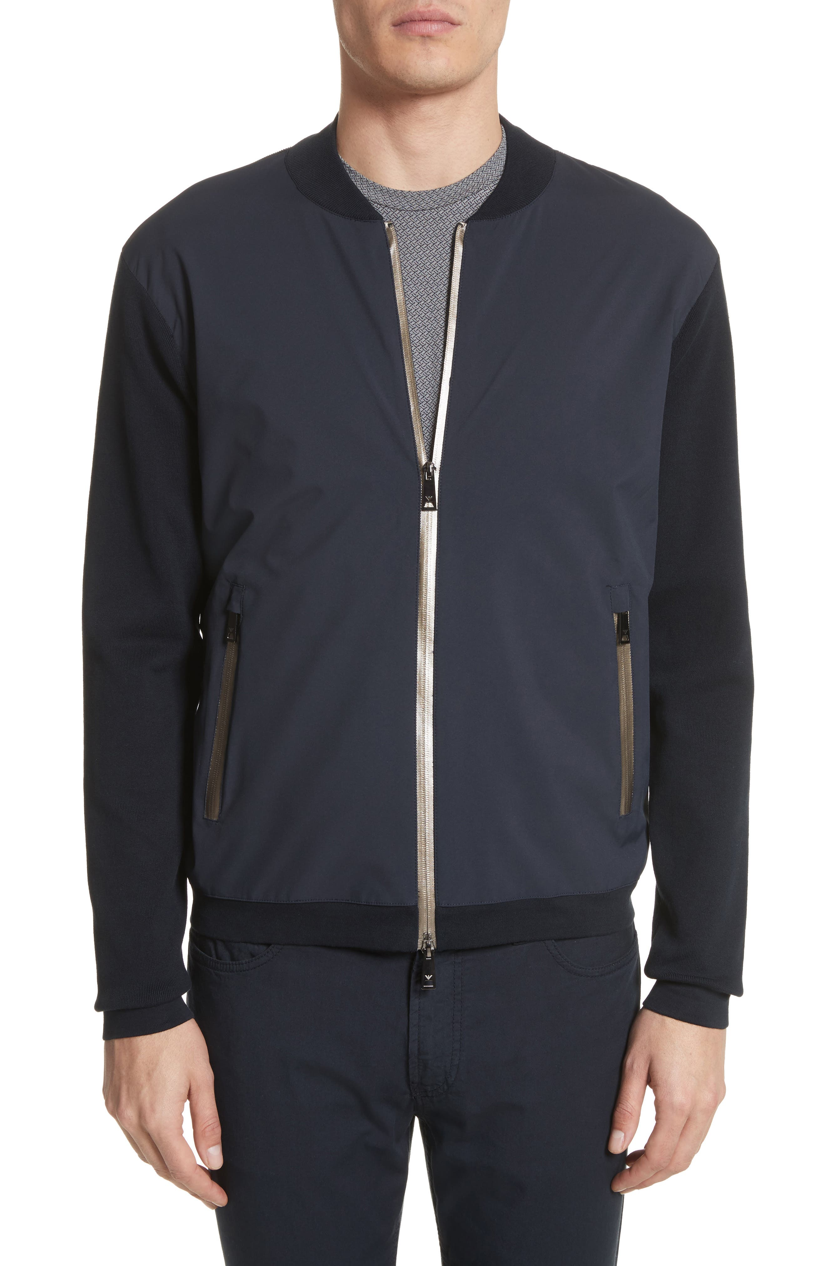 Main Image - Emporio Armani Regular Fit Mixed Media Bomber Jacket