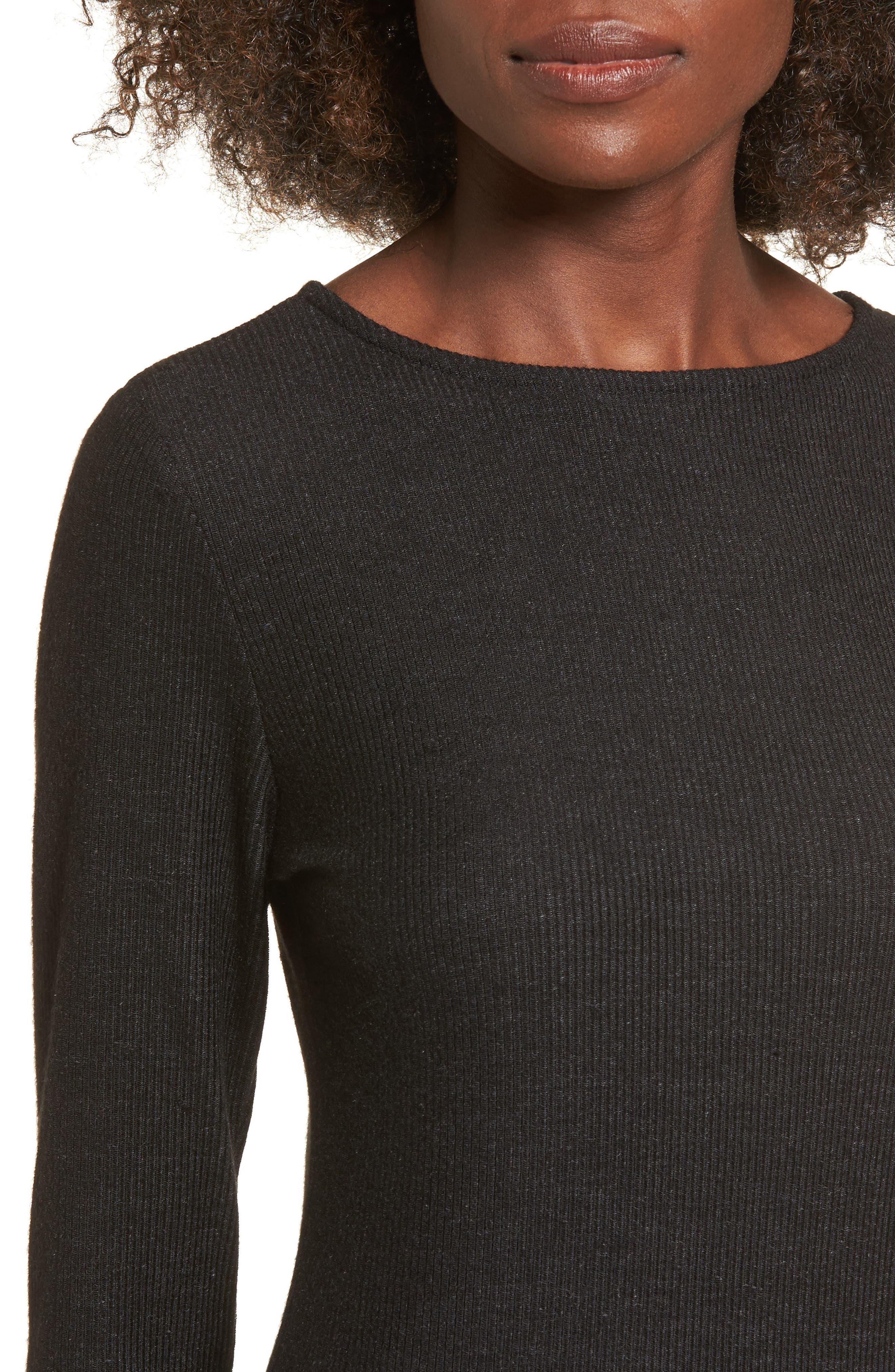 Ribbed Body-Con Dress,                             Alternate thumbnail 4, color,                             Black