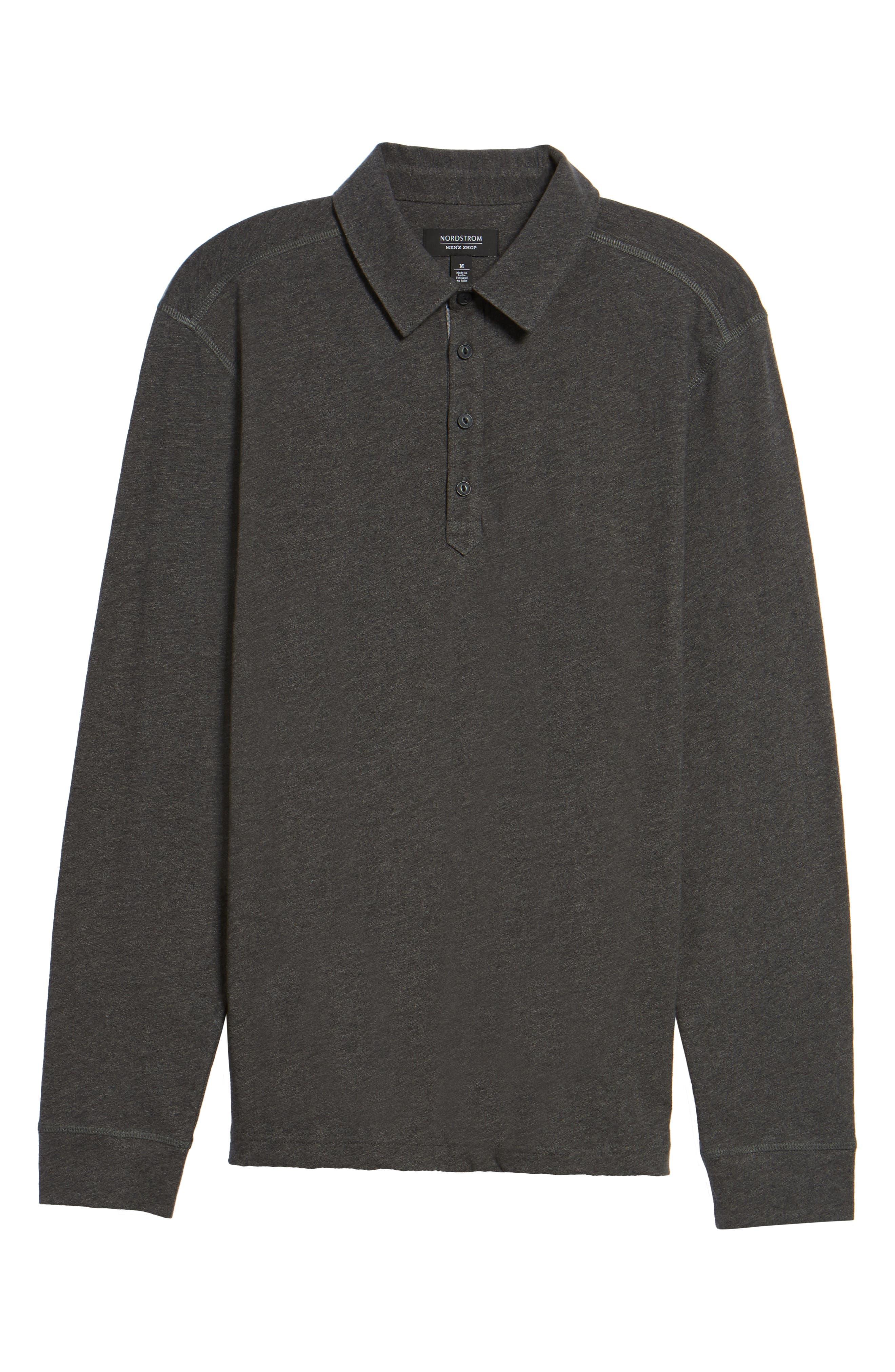 Long Sleeve Polo,                             Alternate thumbnail 6, color,                             Grey Phantom
