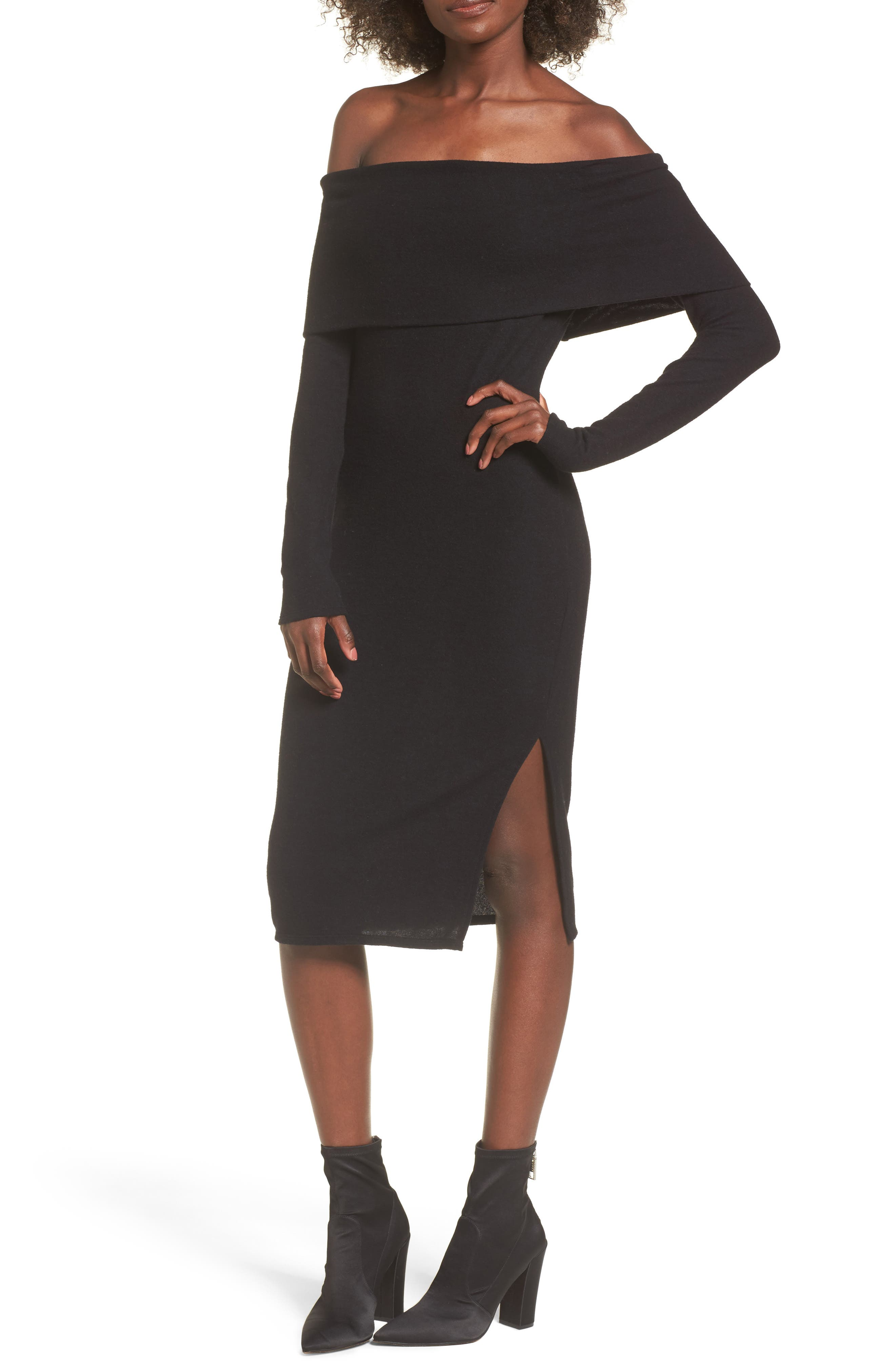 Off the Shoulder Sweater Dress,                         Main,                         color, Black