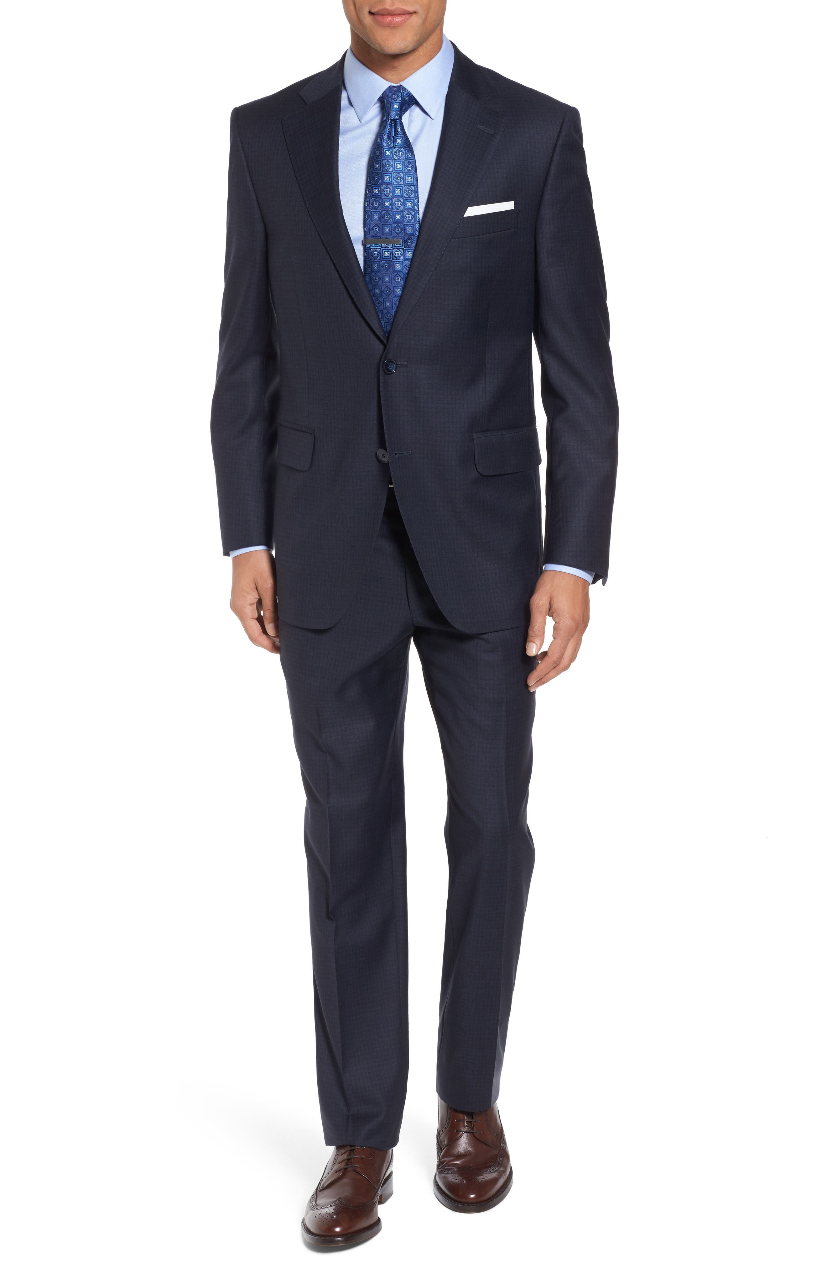 Classic Fit Check Wool Suit,                             Main thumbnail 1, color,                             Navy