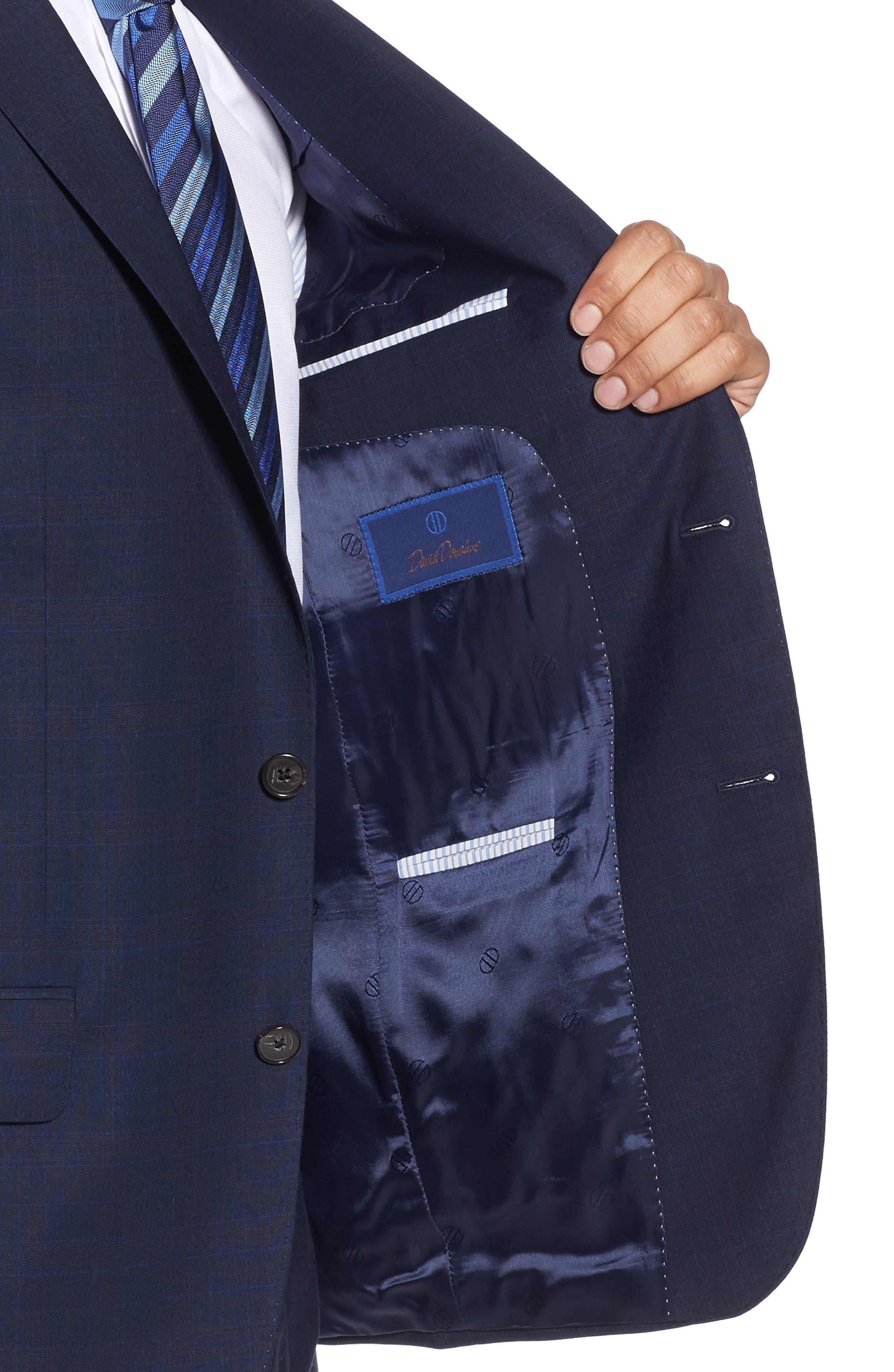 Ryan Classic Fit Plaid Wool Suit,                             Alternate thumbnail 4, color,                             Navy