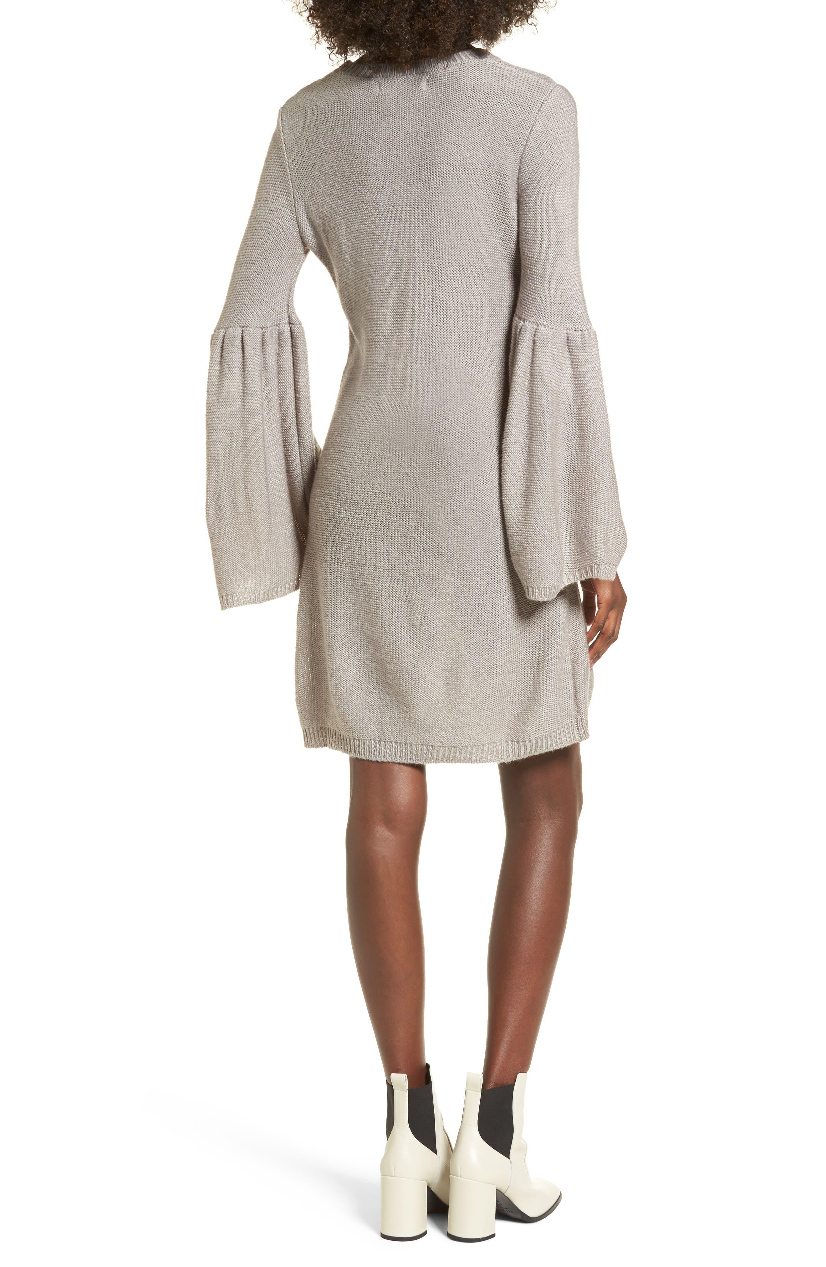 Bell Sleeve Sweater Dress,                             Alternate thumbnail 2, color,                             Light Heather Grey