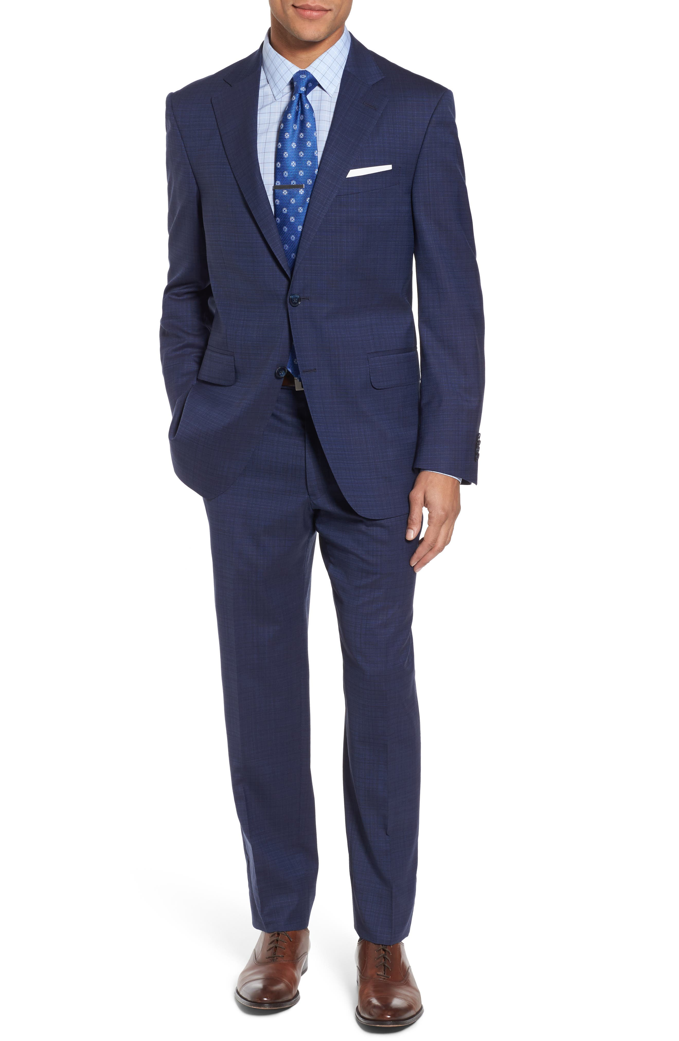 Classic Fit Check Wool Suit,                         Main,                         color, Blue