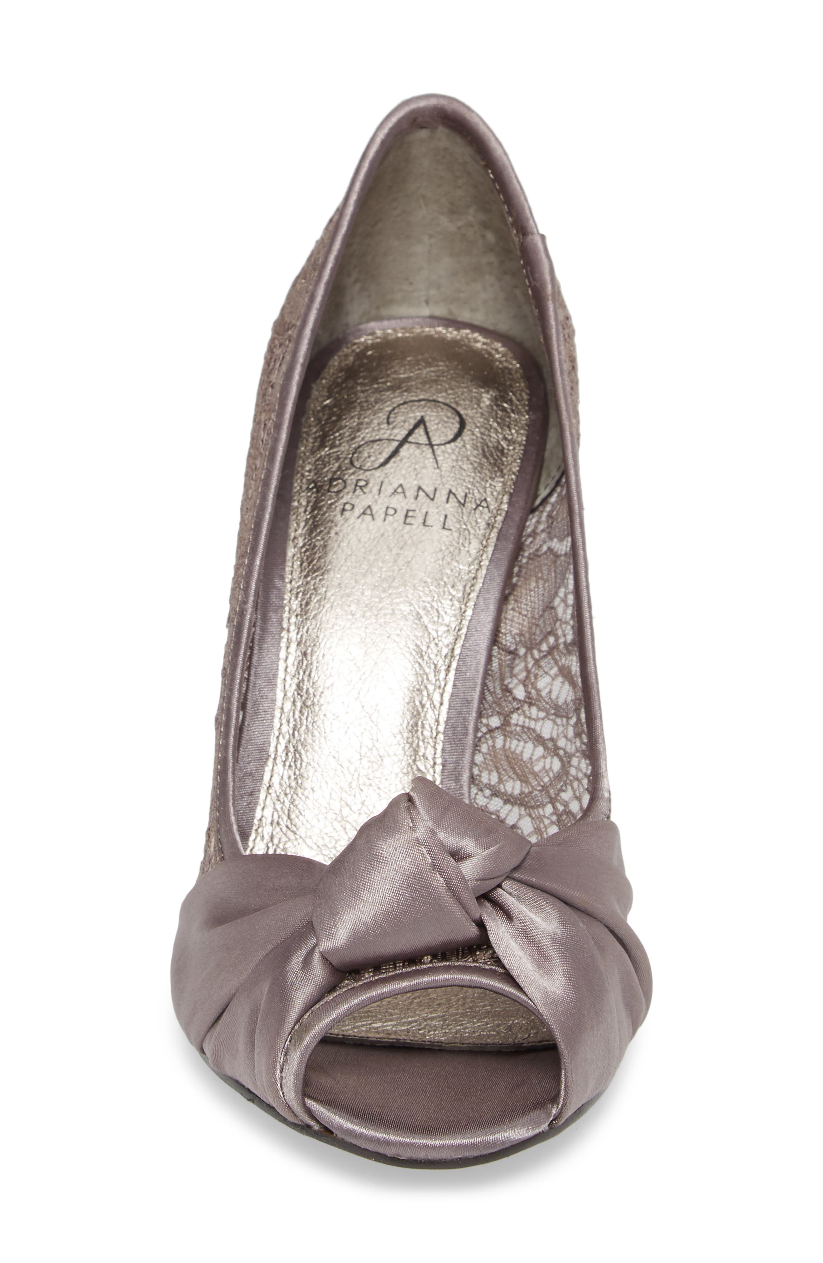 Francesca Knotted Peep Toe Pump,                             Alternate thumbnail 4, color,                             Steel Satin