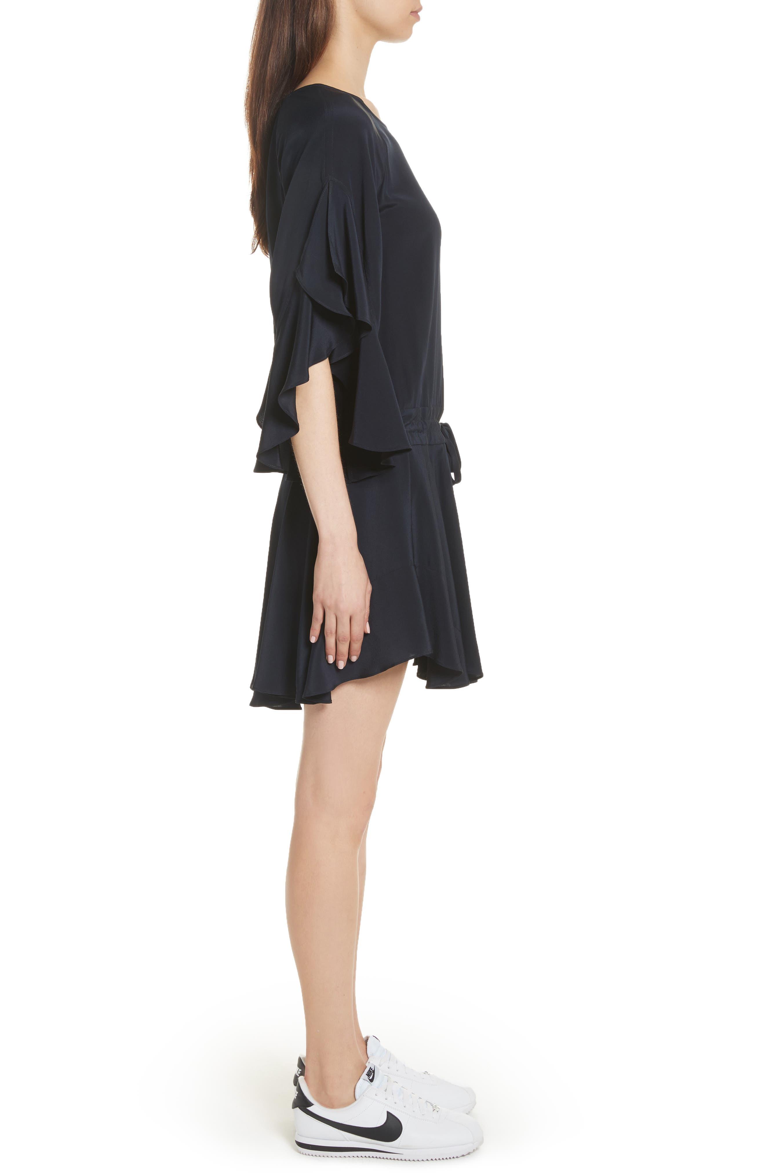 Cannon Flutter Sleeve Silk Dress,                             Alternate thumbnail 3, color,                             Midnight