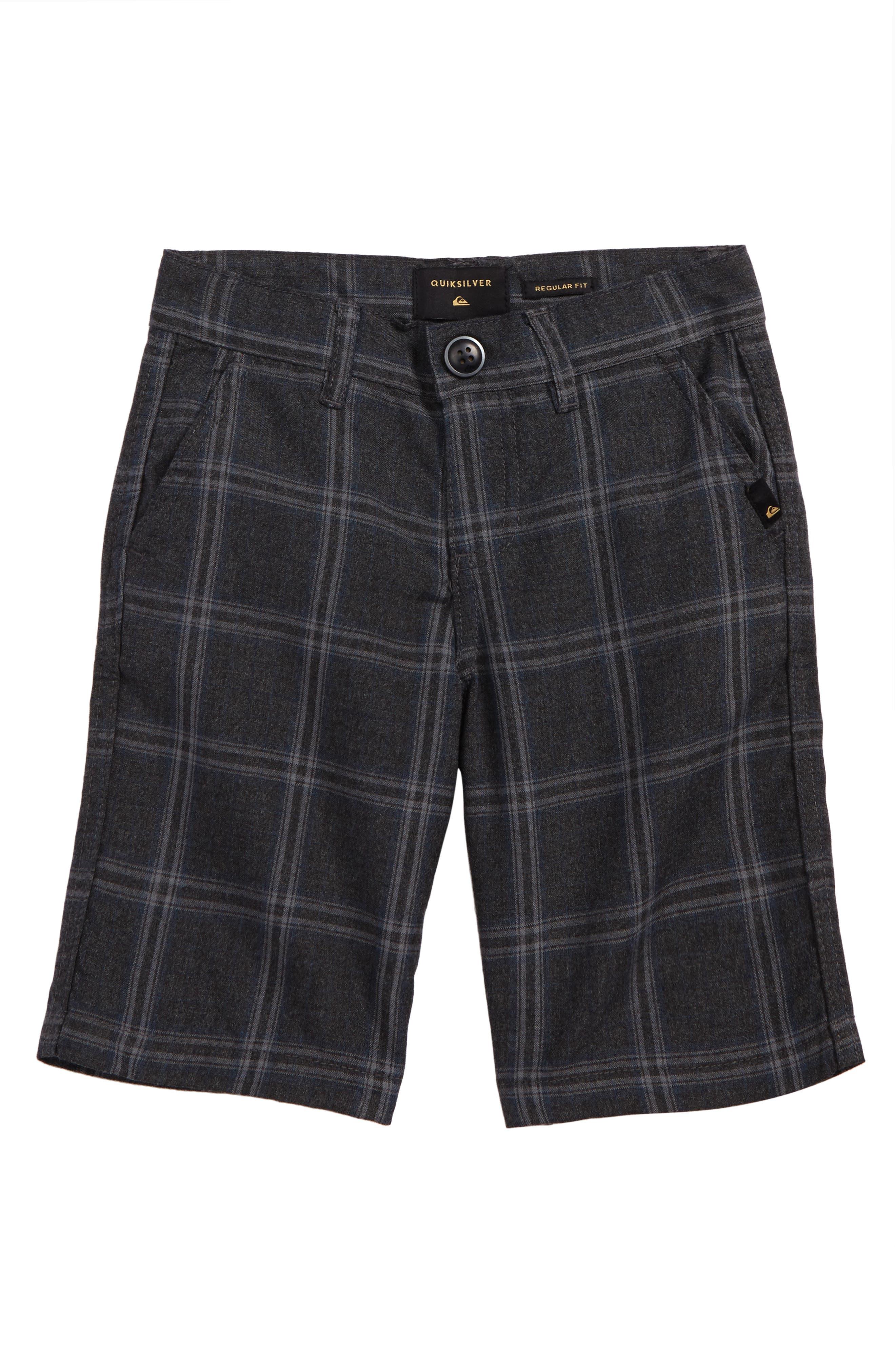 Regeneration Plaid Shorts,                         Main,                         color, Dark Grey Regeneration