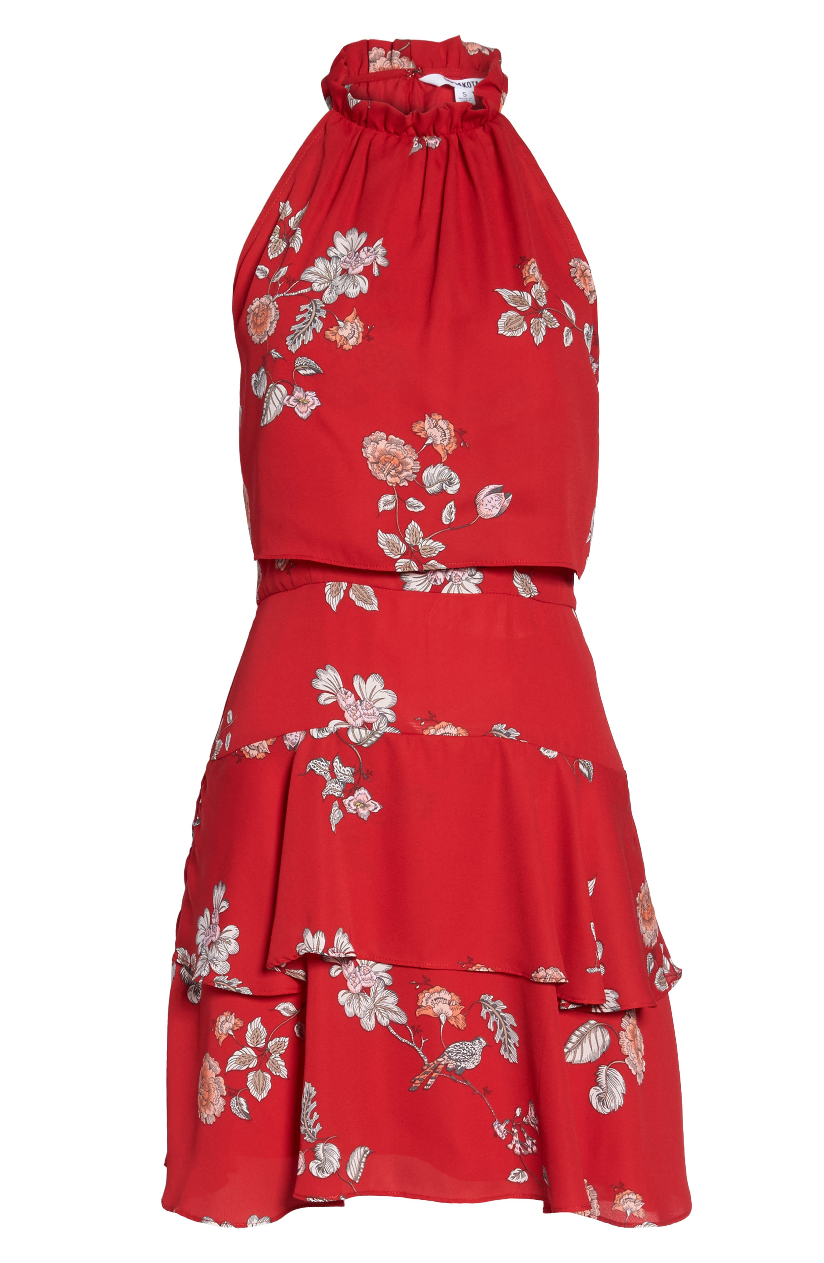 Cadence Ruffle Halter Dress,                             Alternate thumbnail 6, color,                             Red
