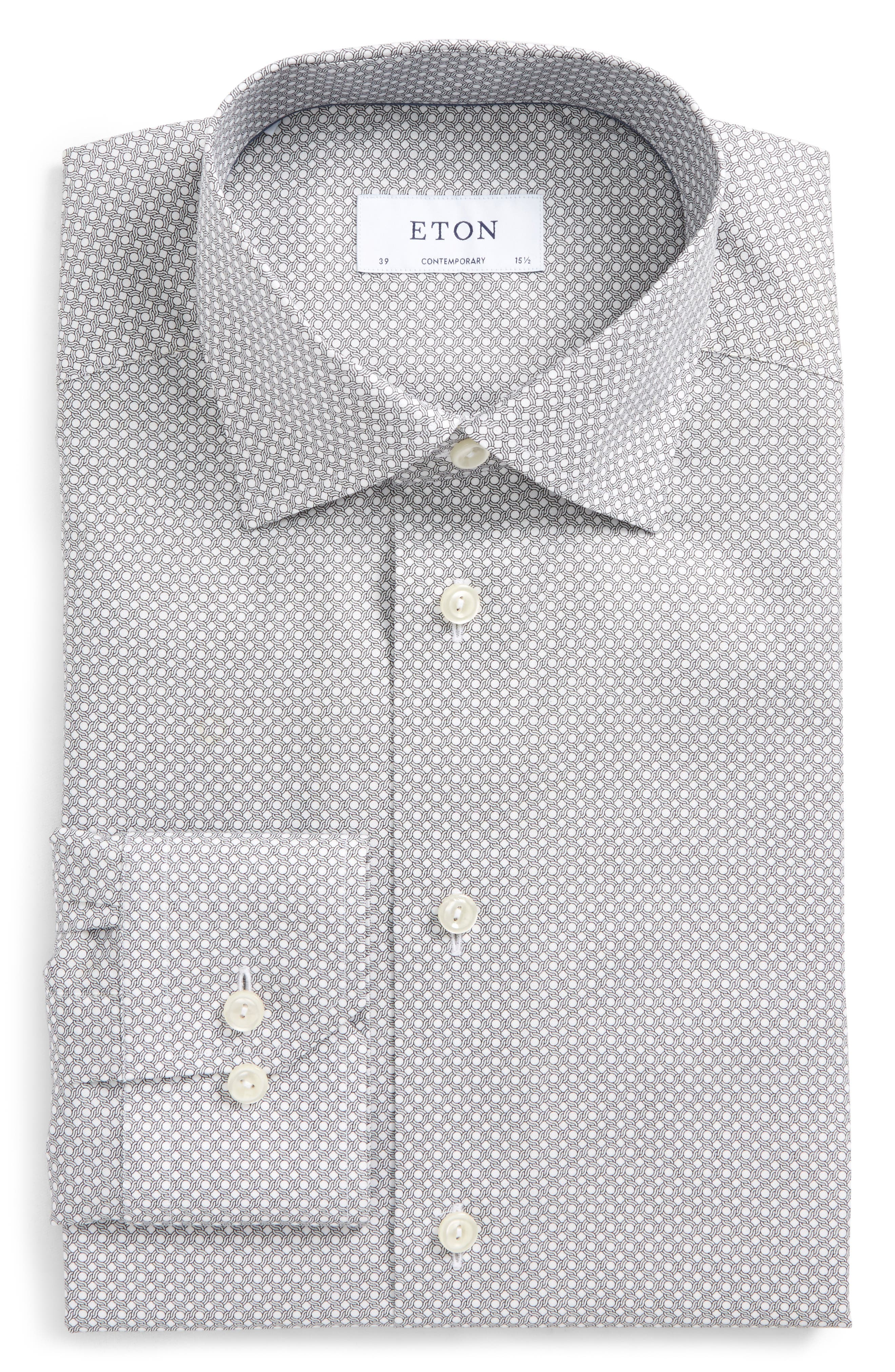 Contemporary Fit Geometric Dress Shirt,                             Main thumbnail 1, color,                             Black