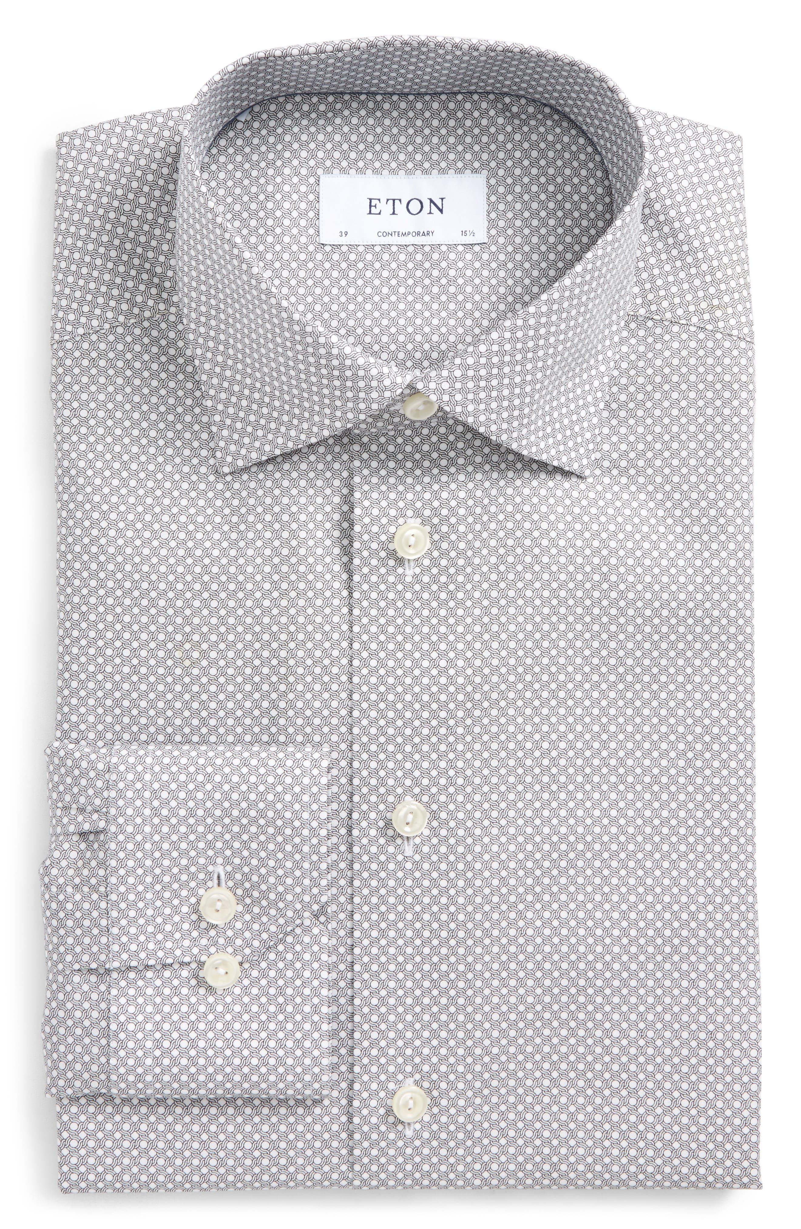 Contemporary Fit Geometric Dress Shirt,                         Main,                         color, Black