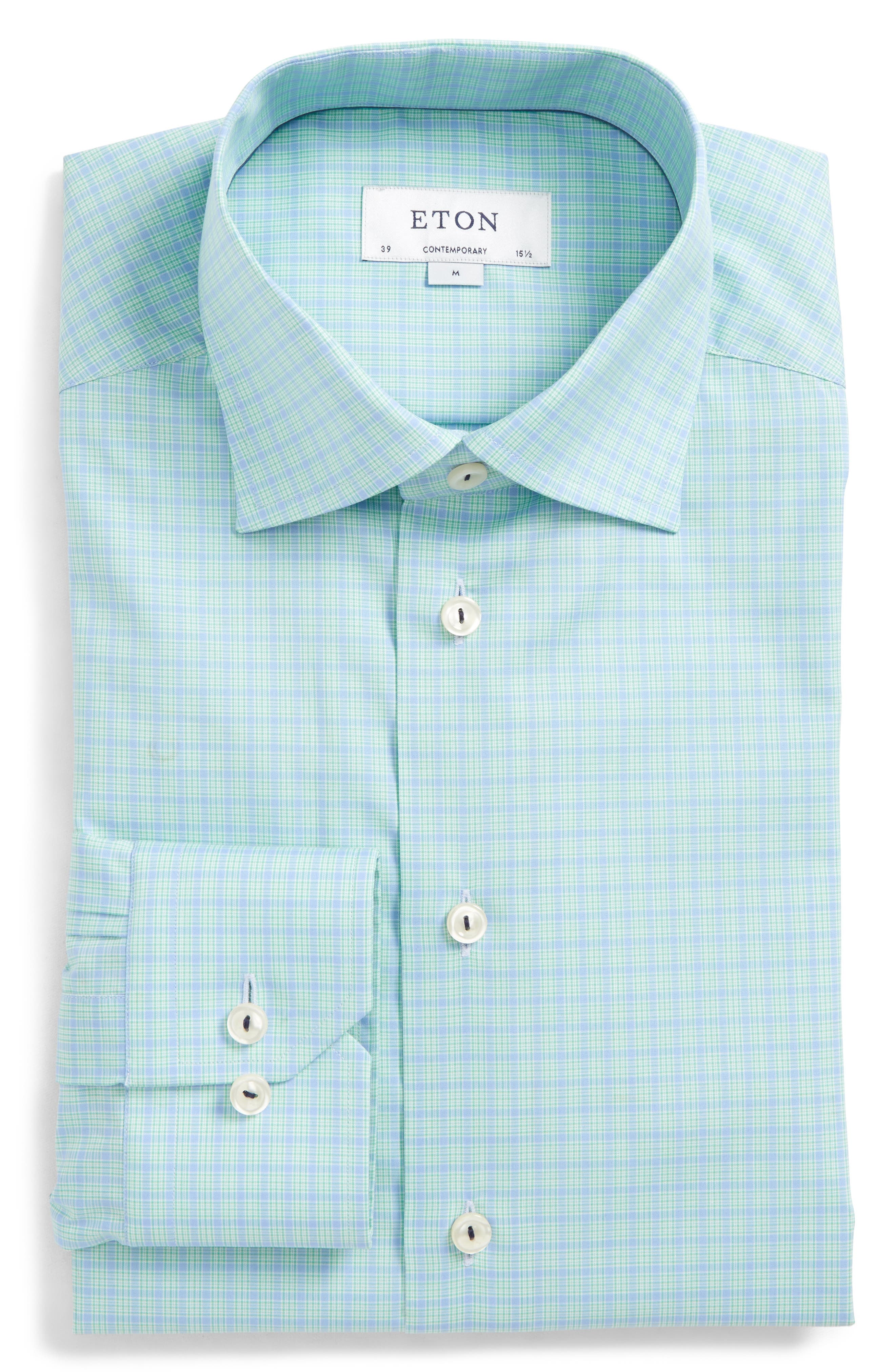 Eton Contemporary Fit Plaid Dress Shirt In Blue Mint Modesens