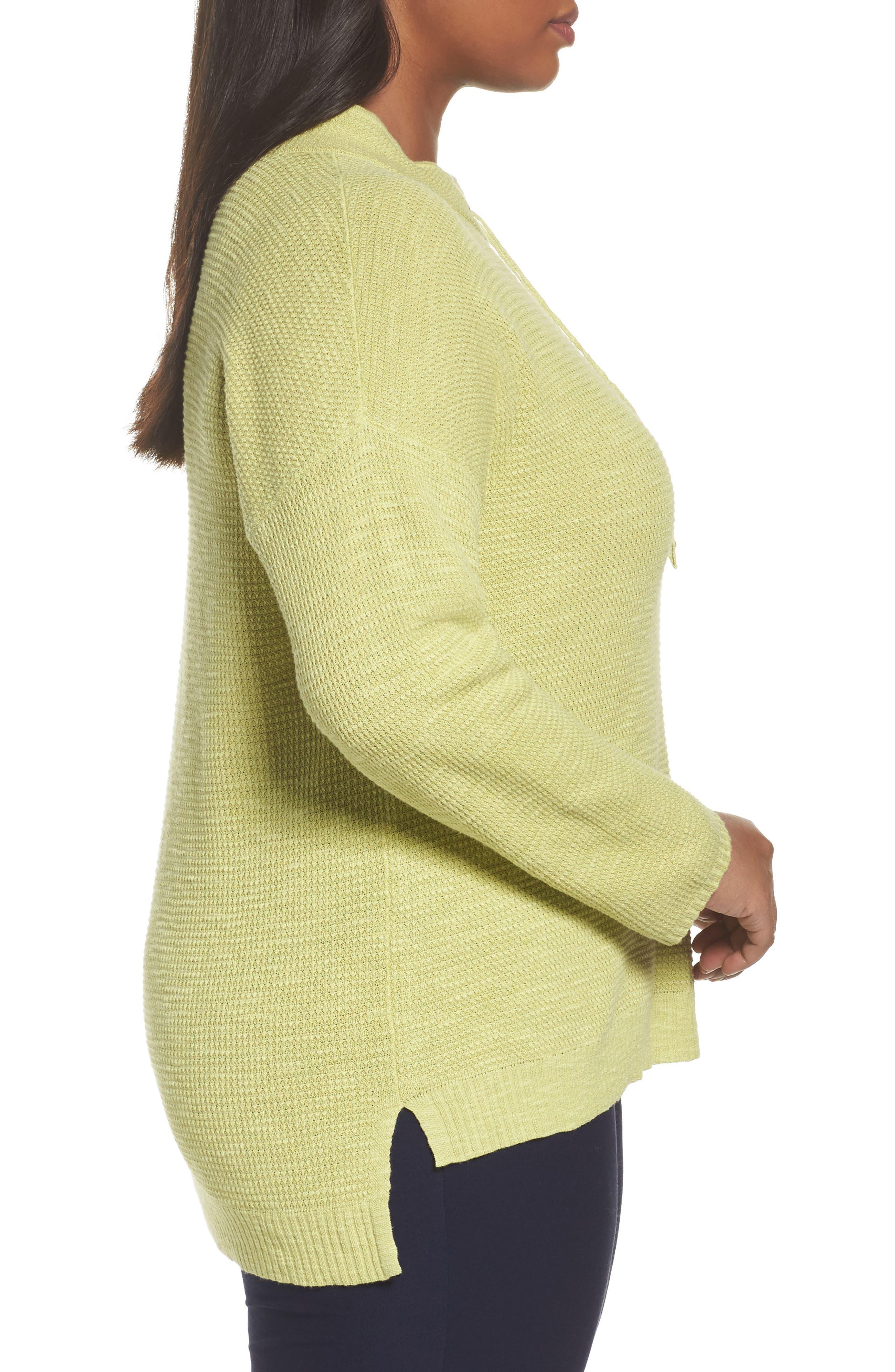 Alternate Image 3  - Eileen Fisher Drawstring Neck Organic Linen & Cotton Top (Plus Size)