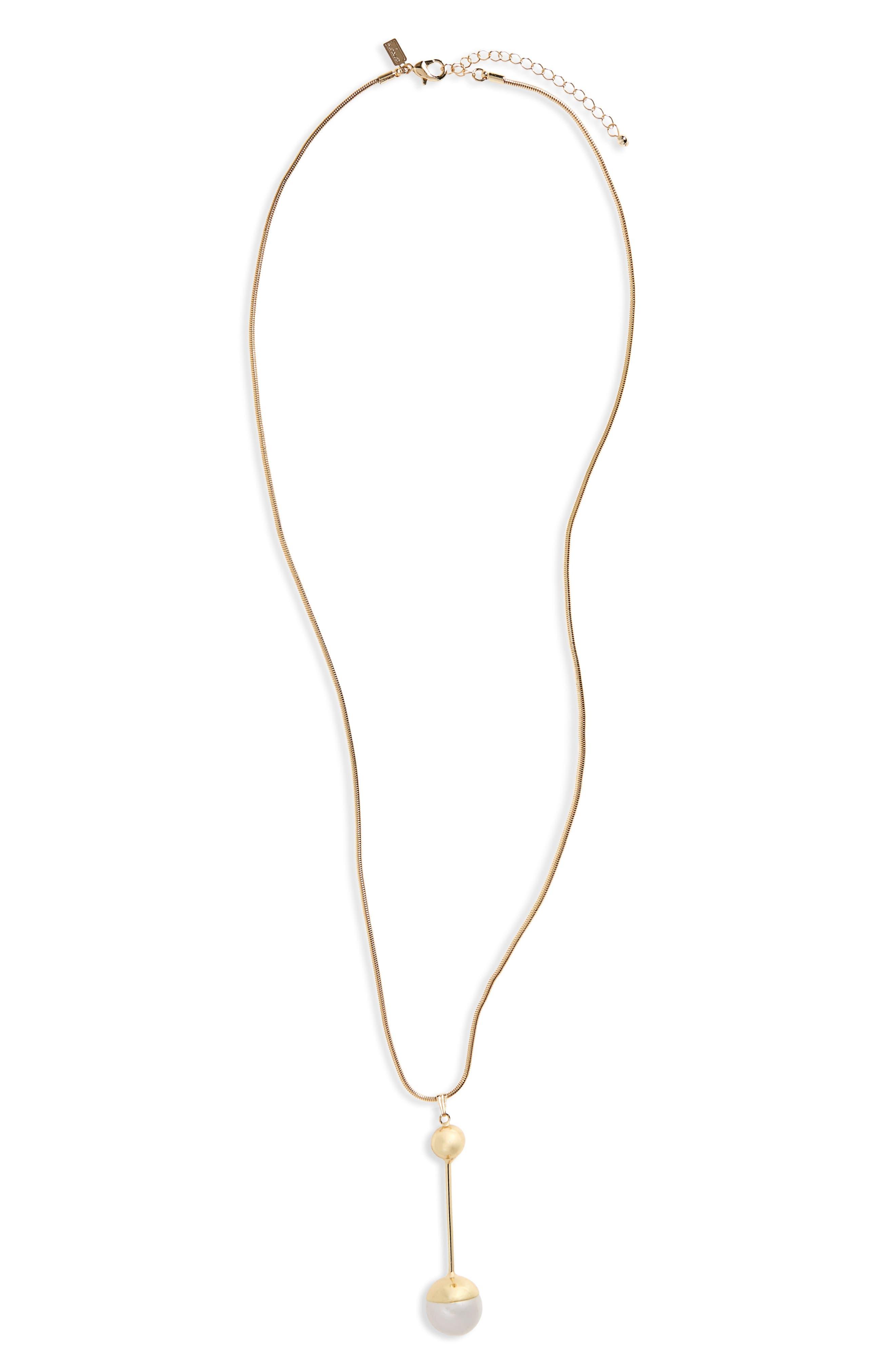 Long Imitation Pearl Pendant Necklace,                             Main thumbnail 1, color,                             Gold
