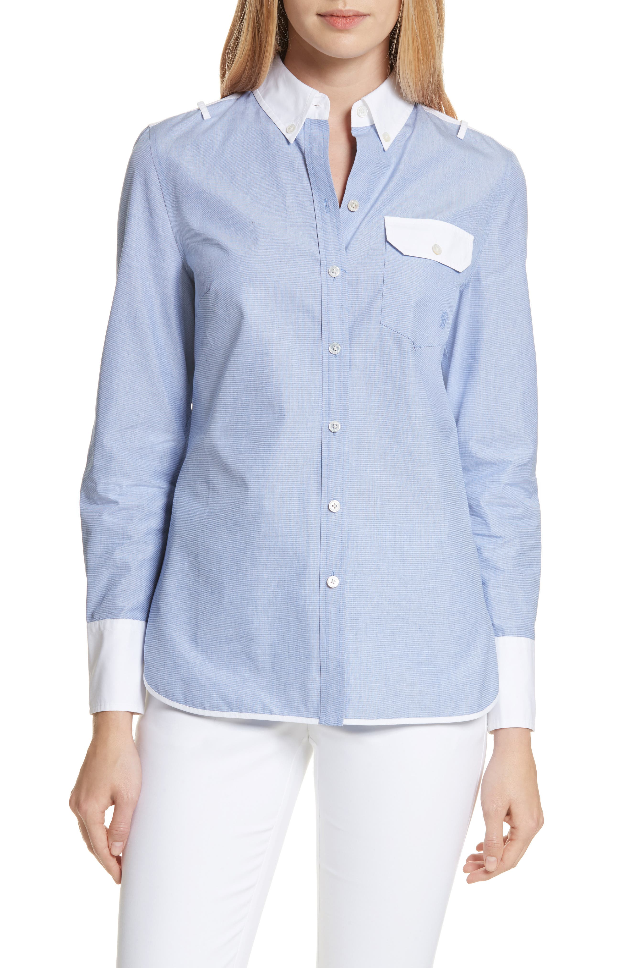 Piper Contrast Cotton Top,                         Main,                         color, Blue