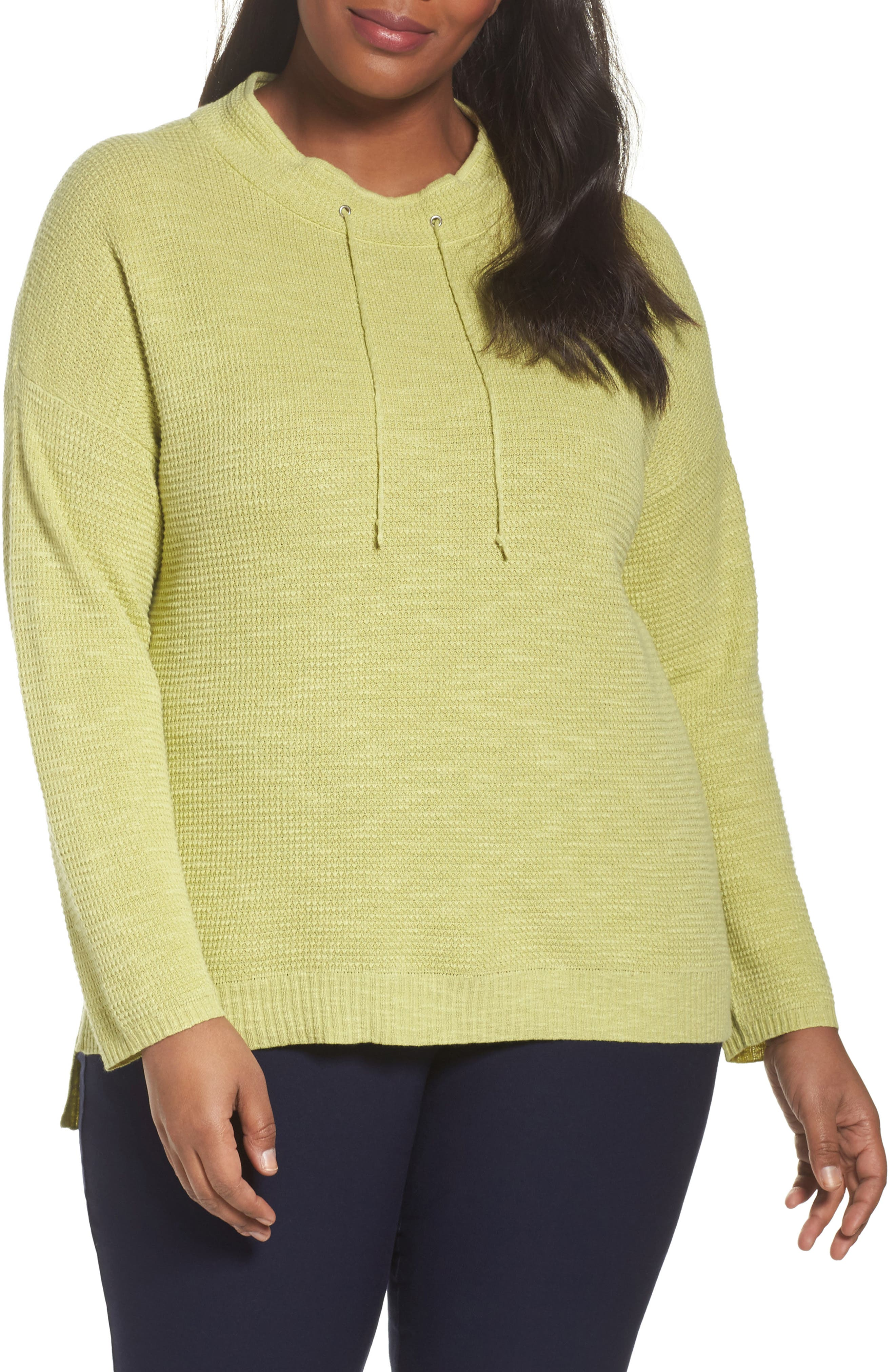 Alternate Image 1 Selected - Eileen Fisher Drawstring Neck Organic Linen & Cotton Top (Plus Size)