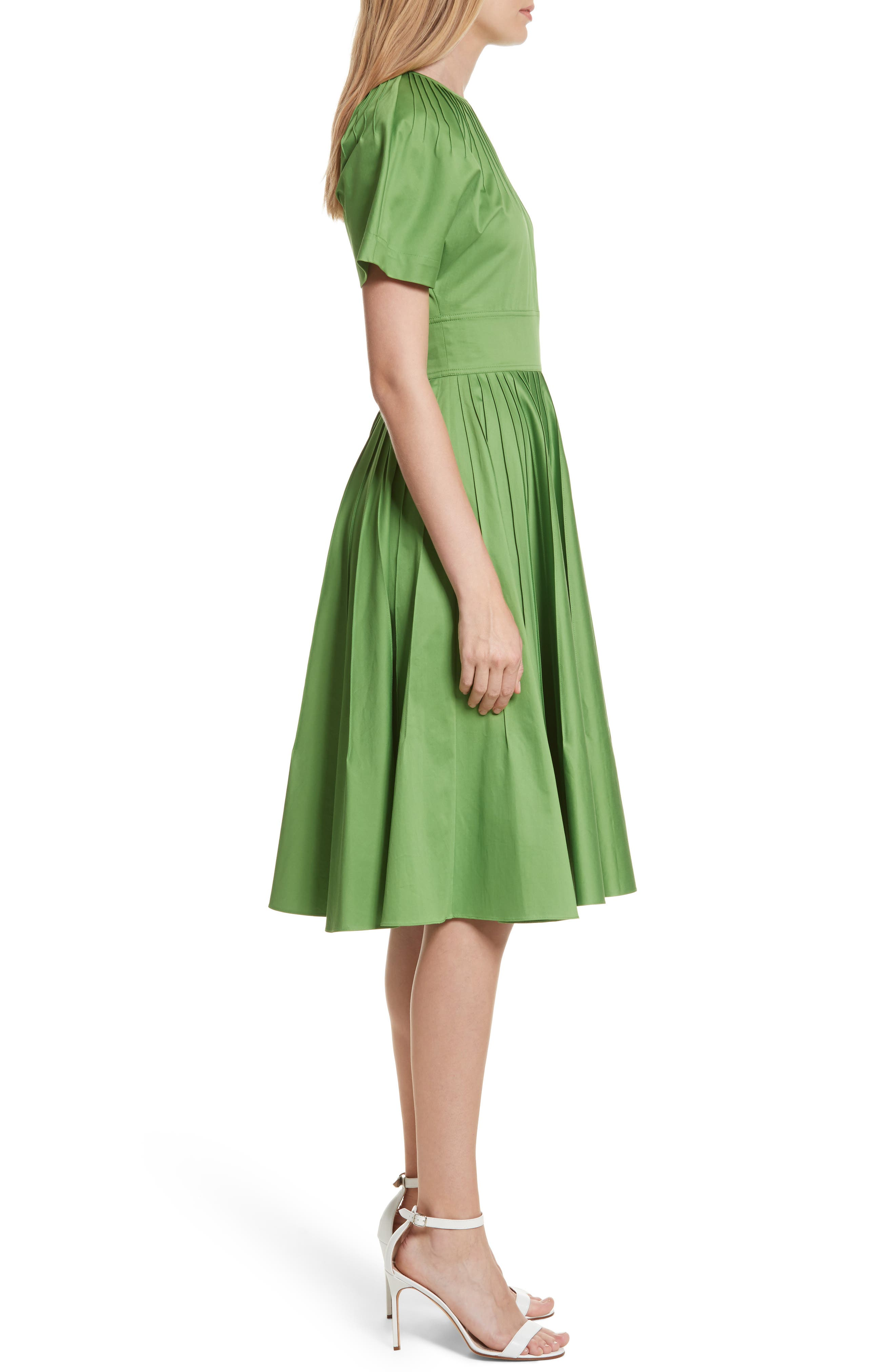 Diane von Furstenberg Pintuck Dress,                             Alternate thumbnail 3, color,                             Grass