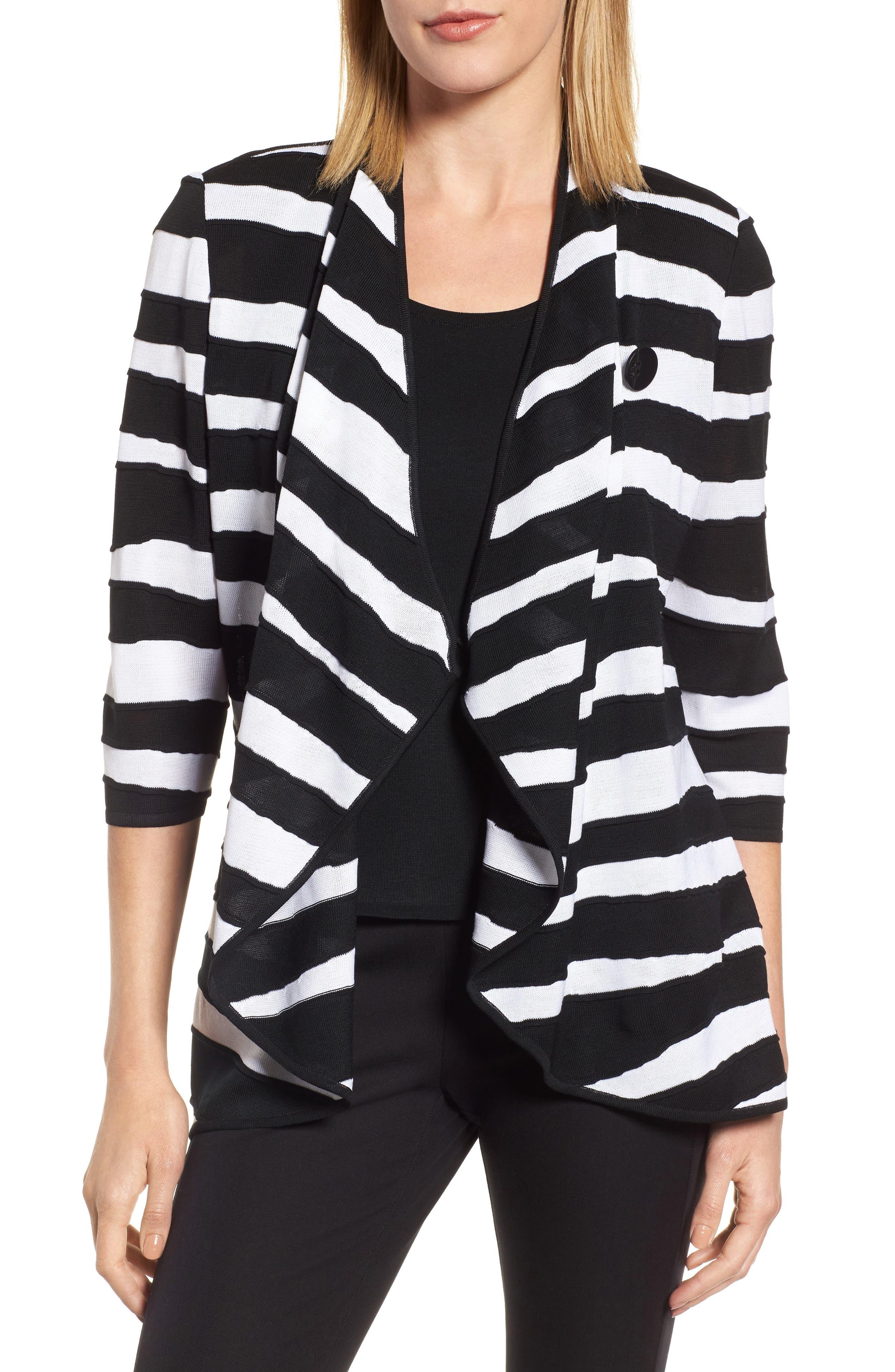 Animal Jacquard Knit Jacket,                             Main thumbnail 1, color,                             Black/ White