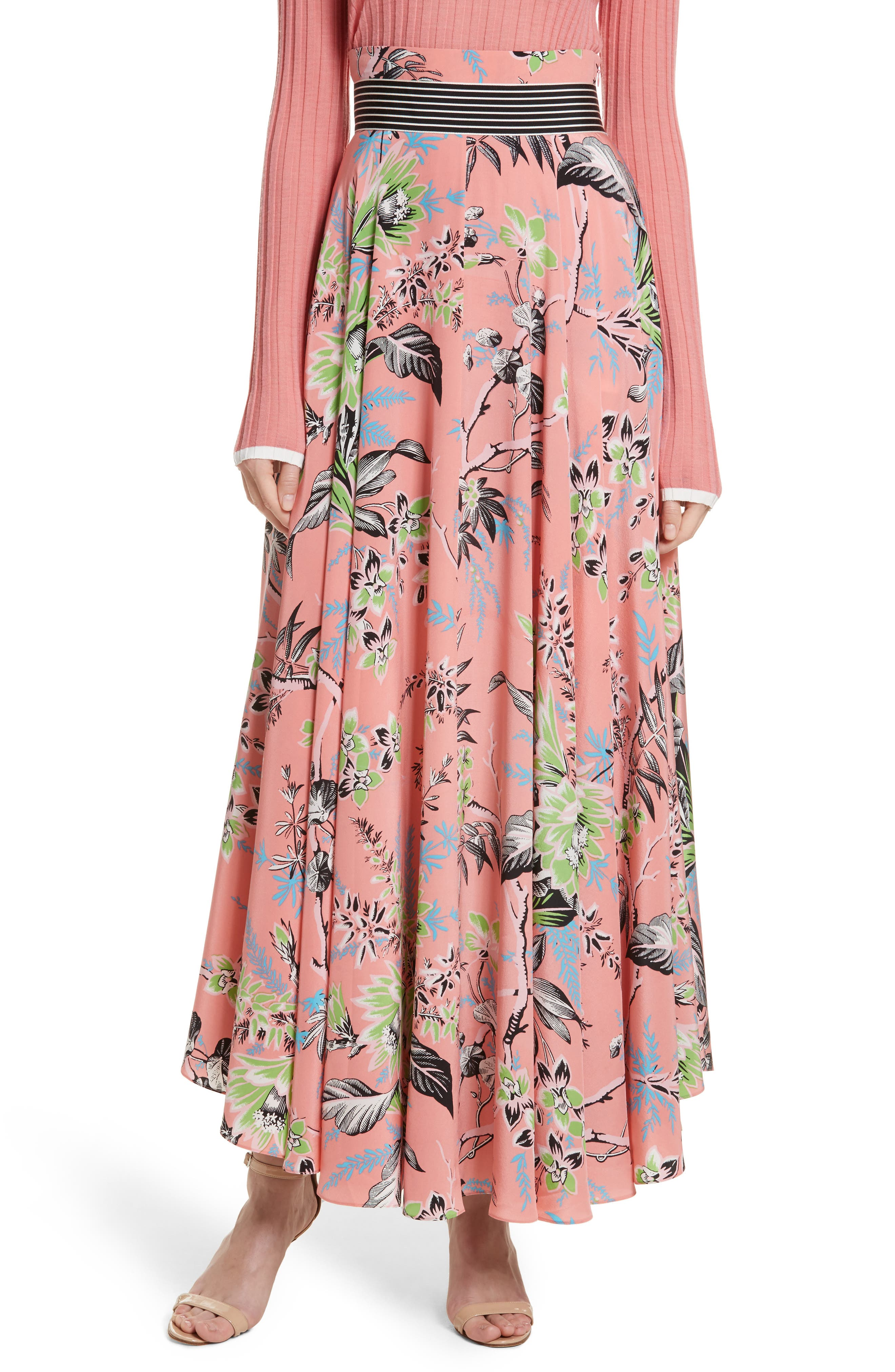 Diane von Furstenberg Draped Silk Maxi Skirt,                             Main thumbnail 1, color,                             Avalon Hyacinth