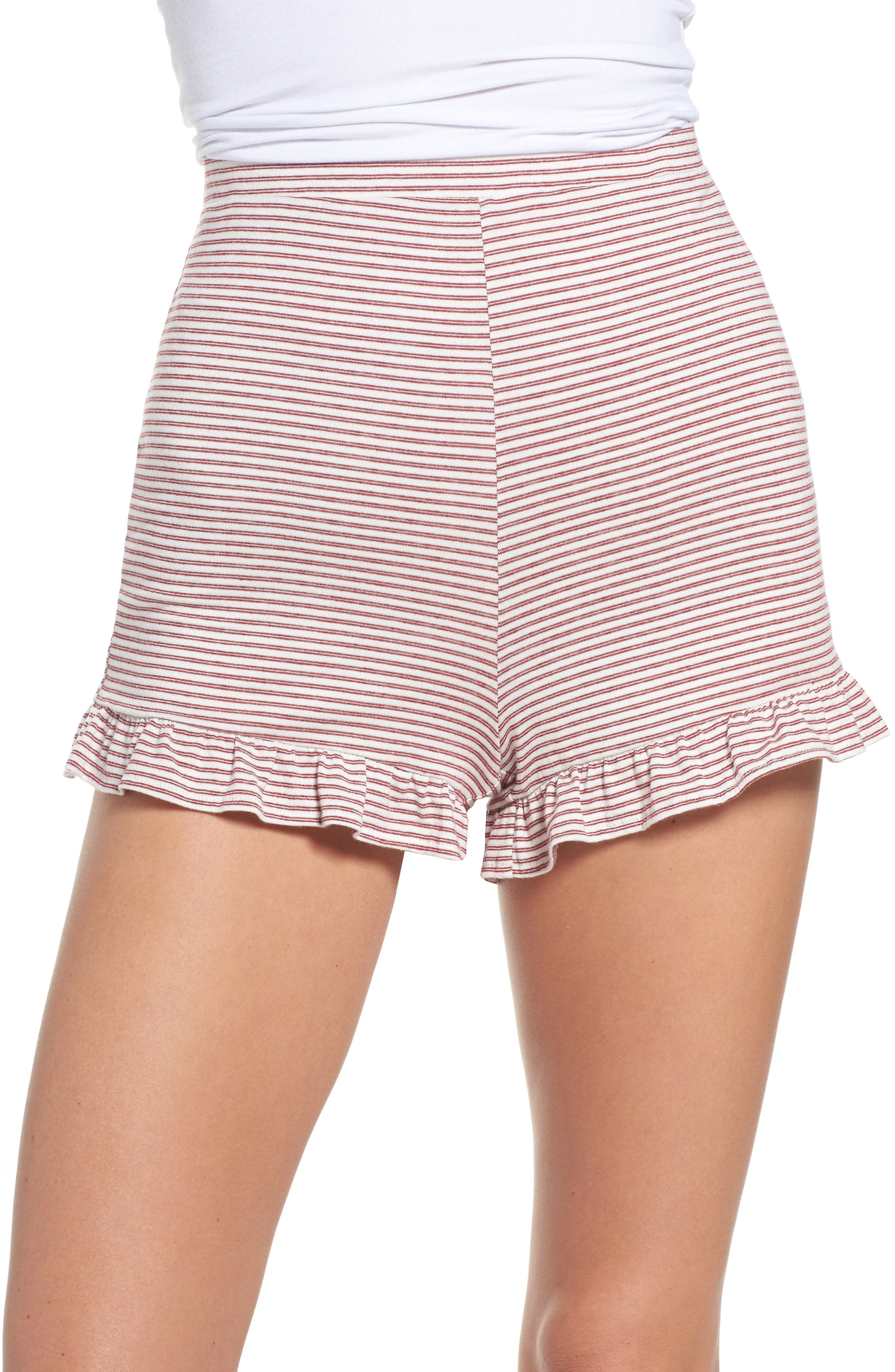 Embry Ruffle Hem Lounge Shorts,                         Main,                         color, Red/ White